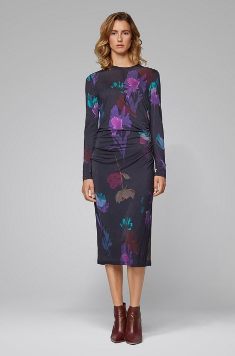 Long-sleeved patterned dress with gathered waist, Patterned