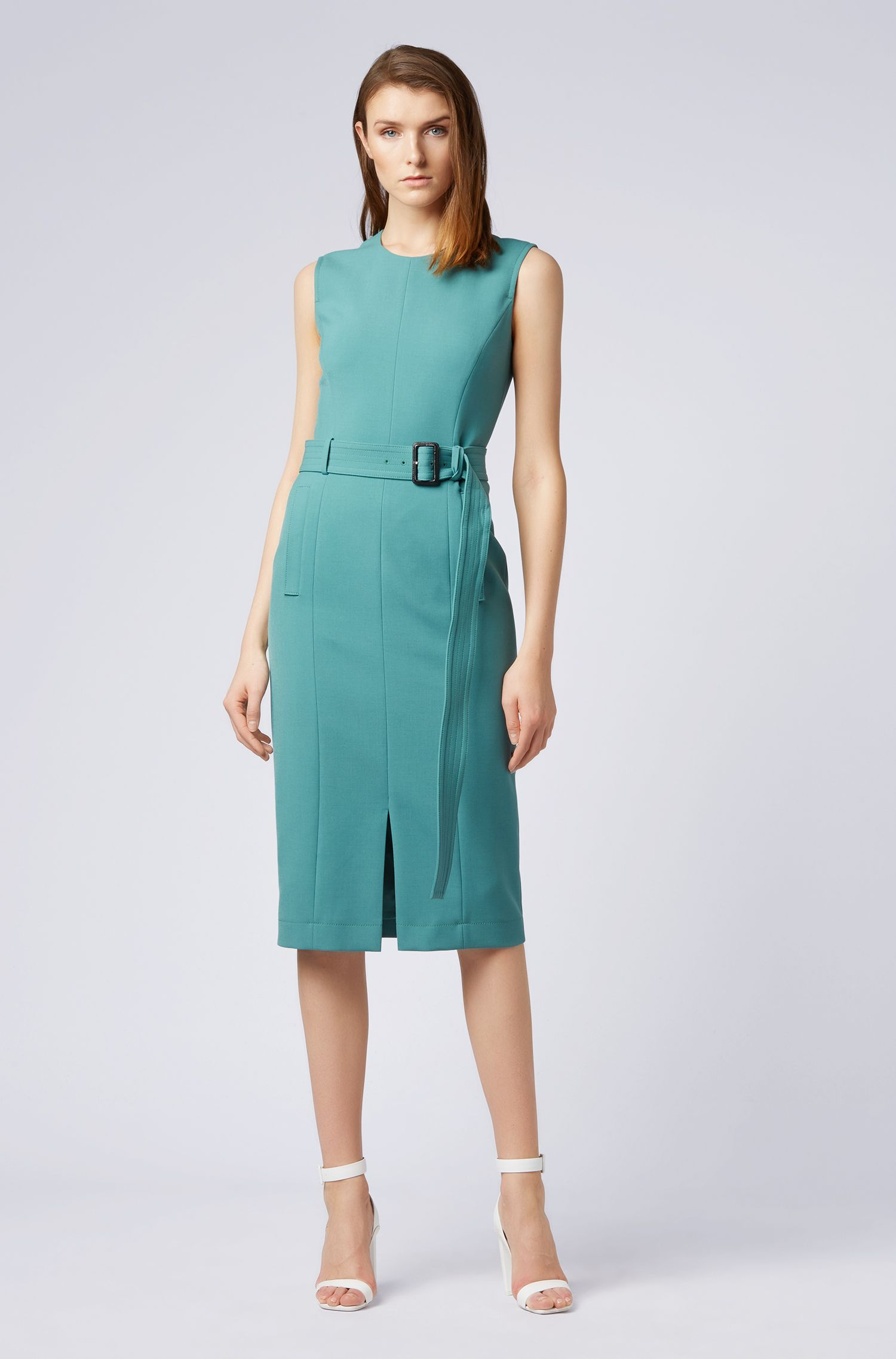 Midi-length shift dress with trench-coat-inspired details, Open Green