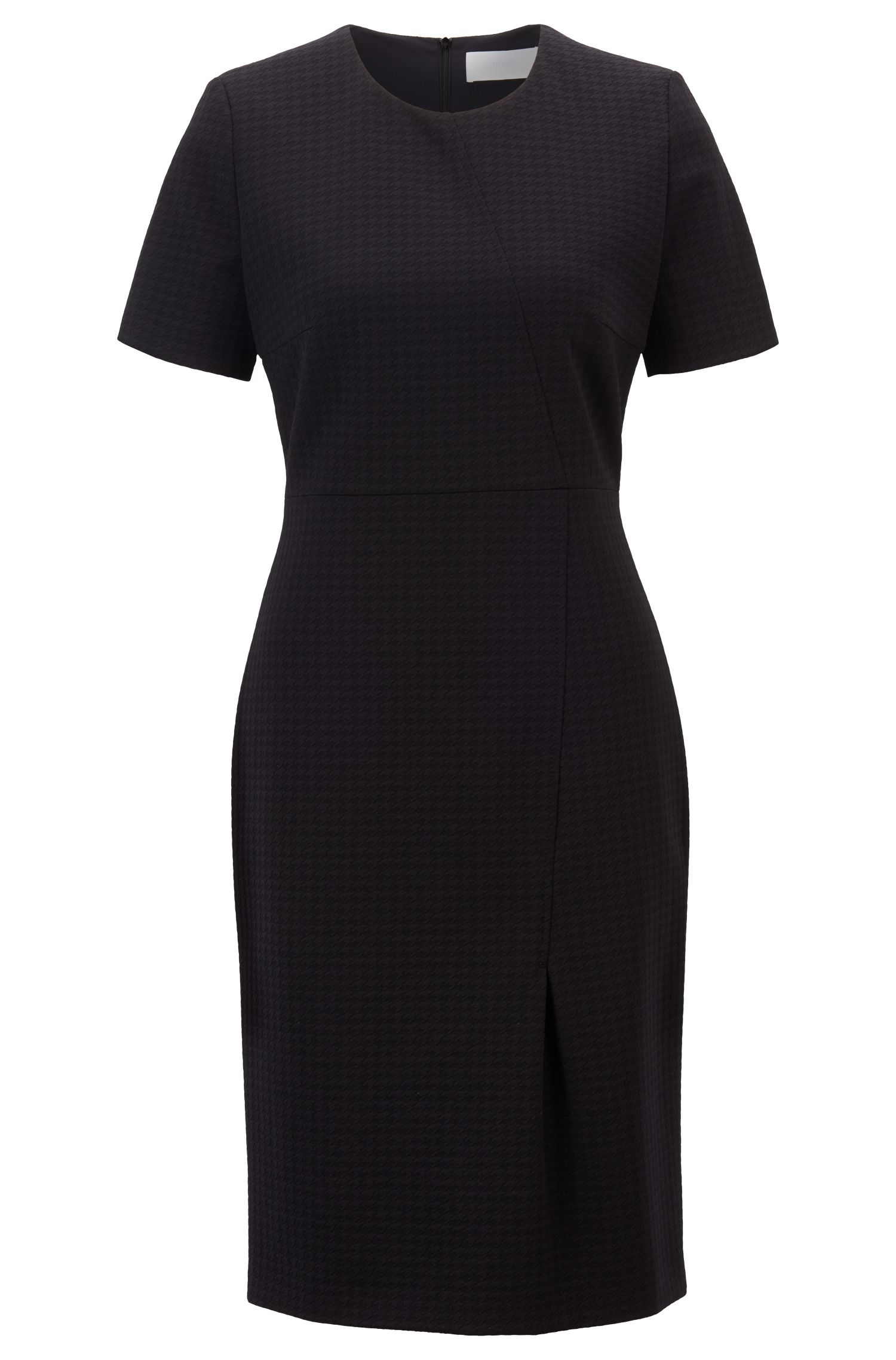 Short-sleeved dress in Italian houndstooth jersey, Black