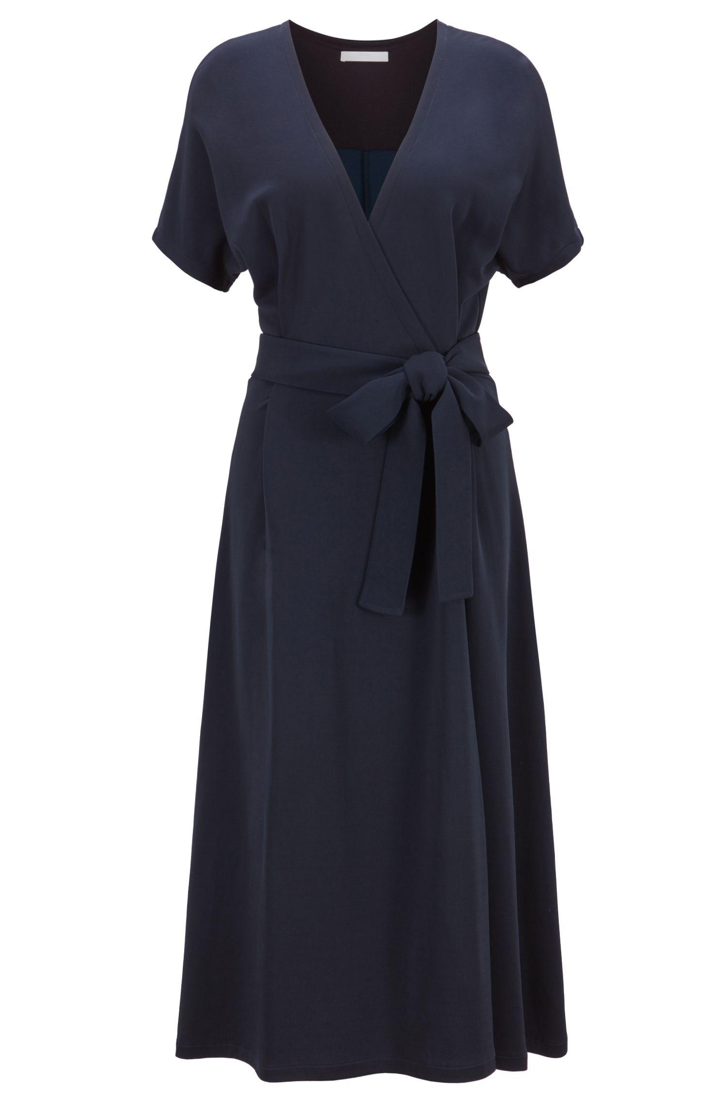 Regular-fit V-neck wrap dress in Italian fabric, Open Blue