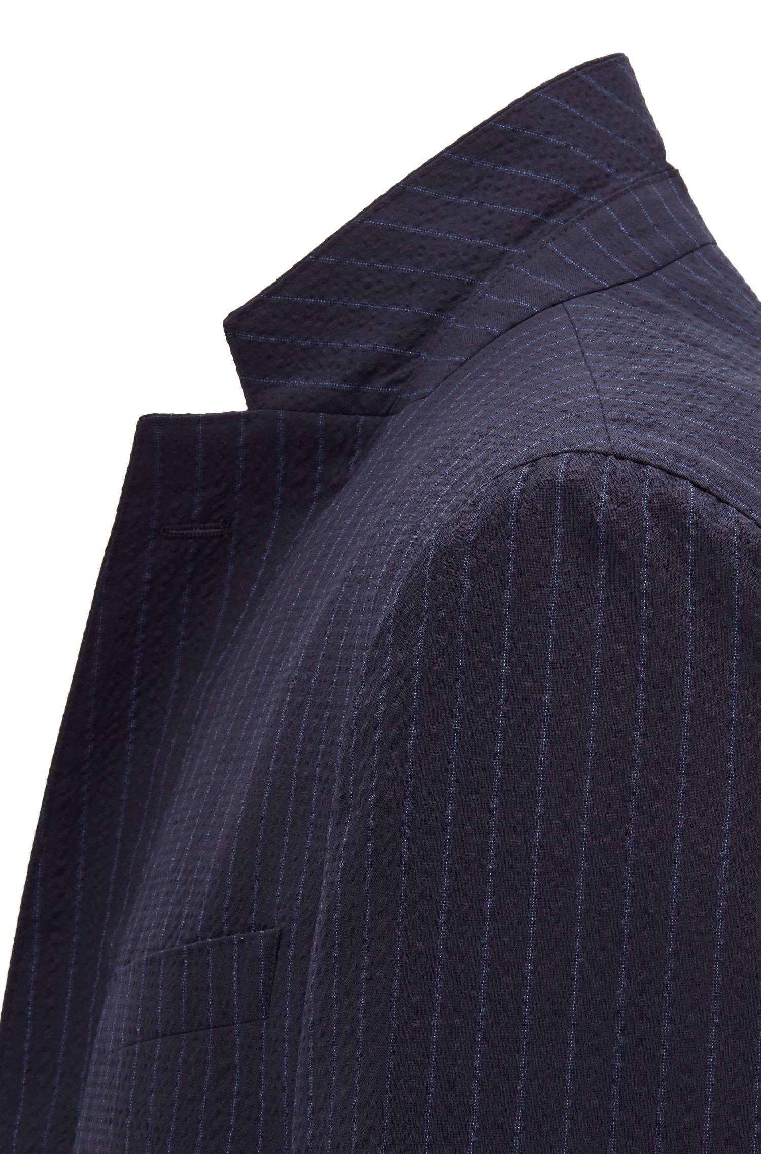 Slim-fit suit in a wool-cotton blend with pinstripe, Open Blue