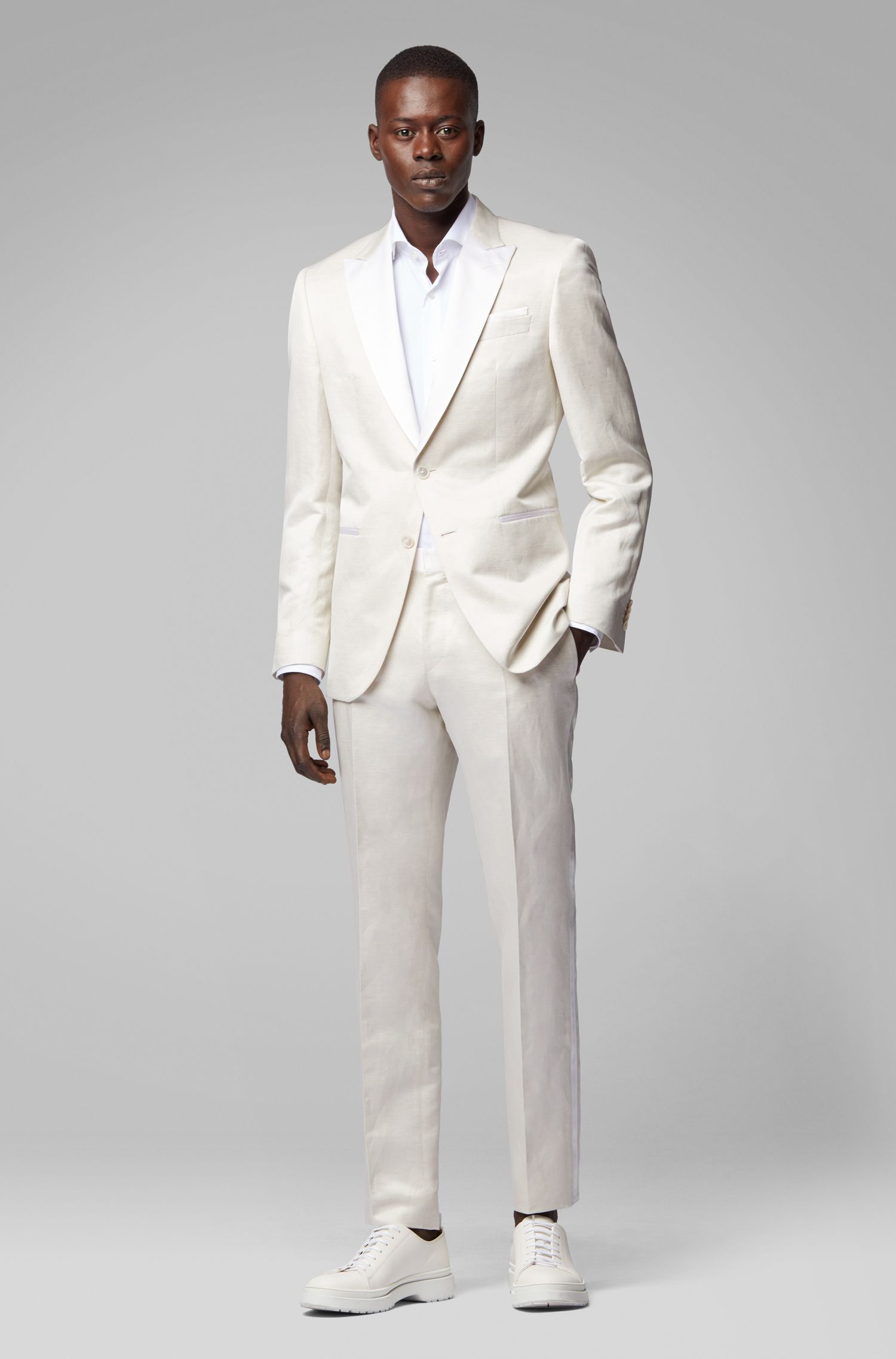 Slim-fit evening suit in a linen-silk blend, Natural