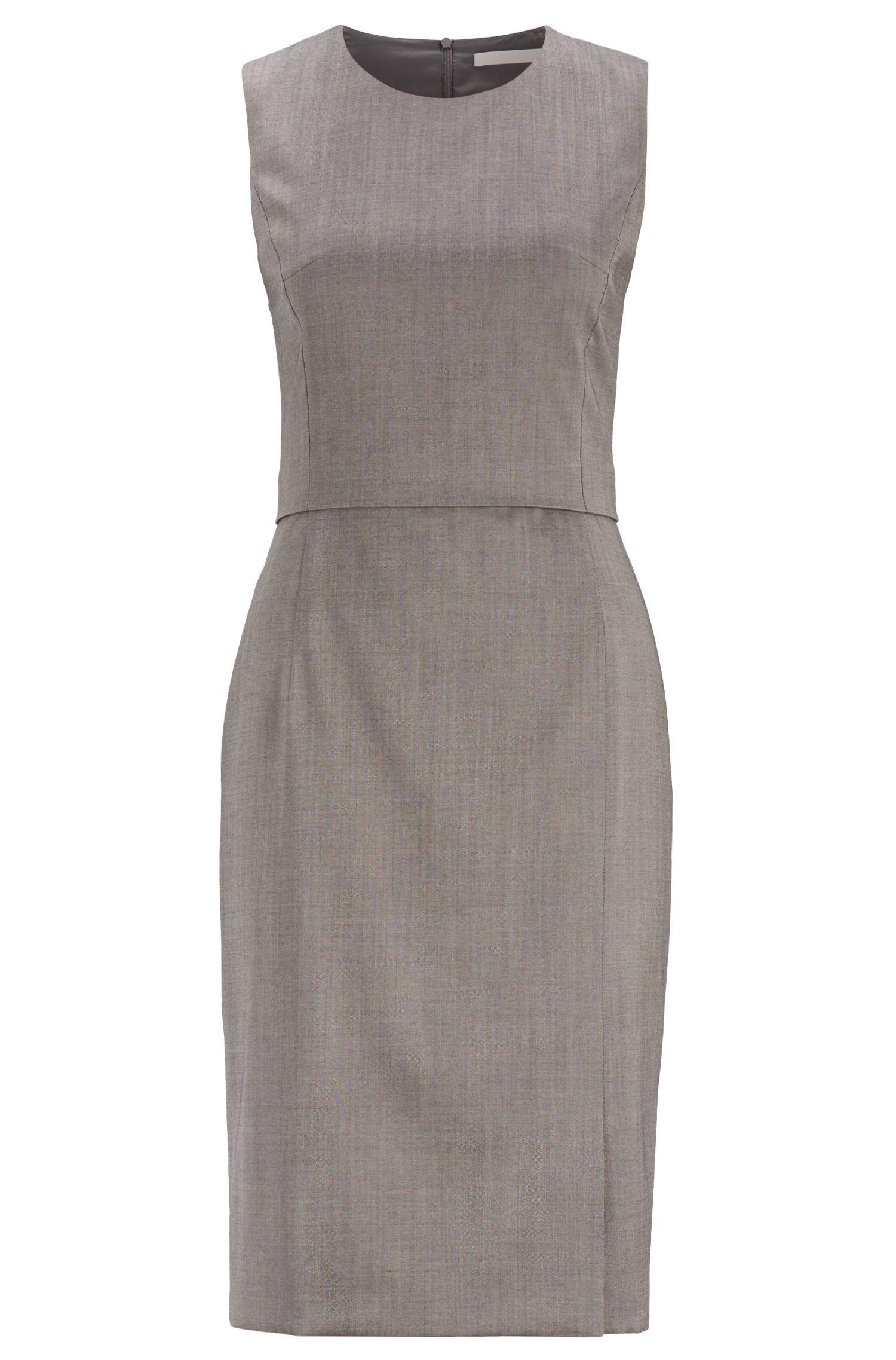 Shift dress in sharkskin virgin wool with back panel, Dark Grey