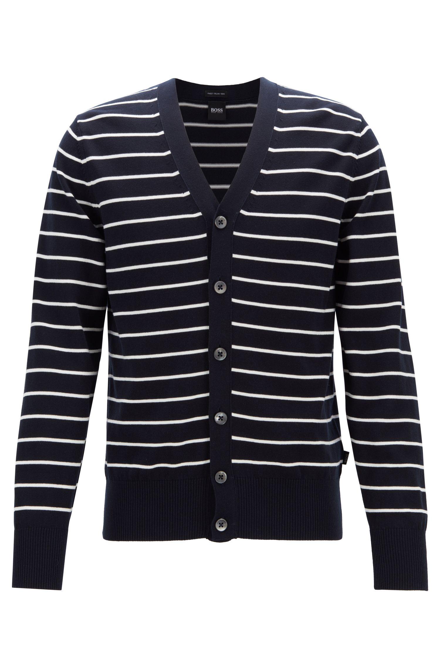 Regular-fit striped cardigan in knitted cotton, Dark Blue