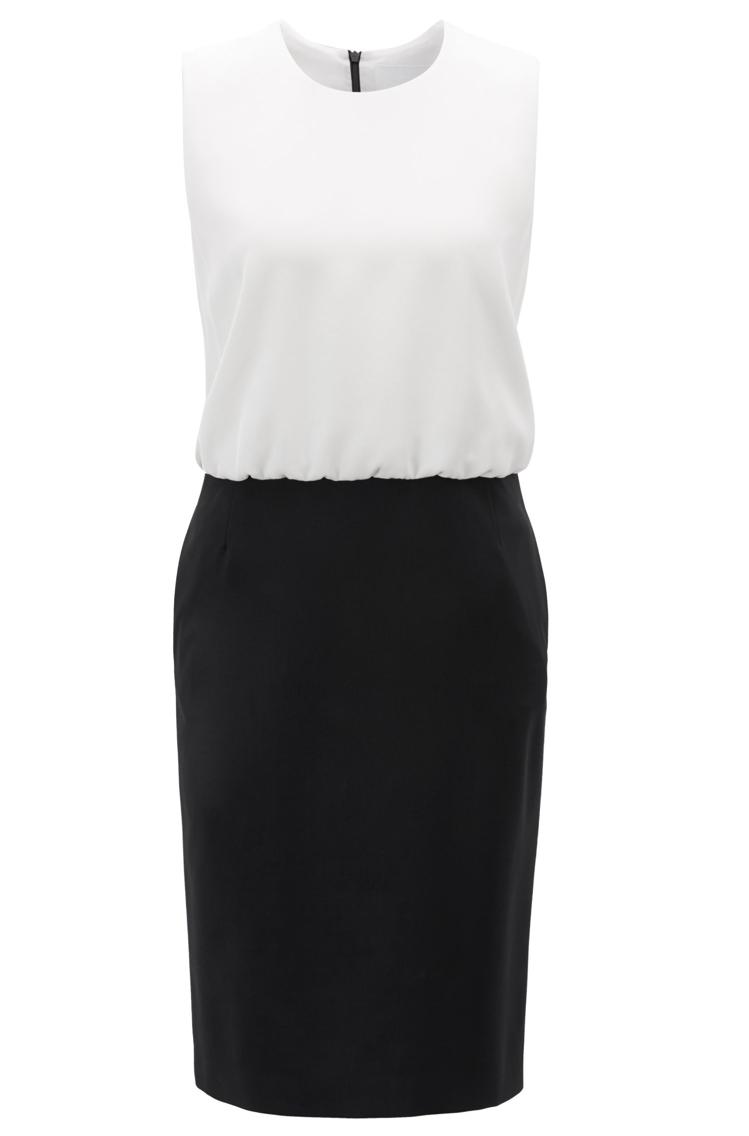 Color-block shift dress with stretch-wool skirt, Black