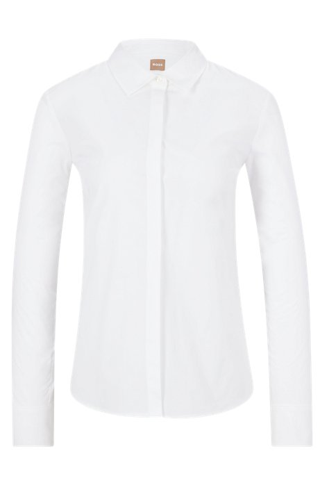 Regular-fit tailored blouse in stretch cotton poplin, White