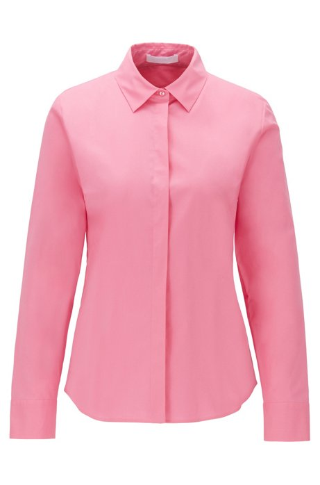 Regular-fit tailored blouse in stretch cotton poplin, light pink