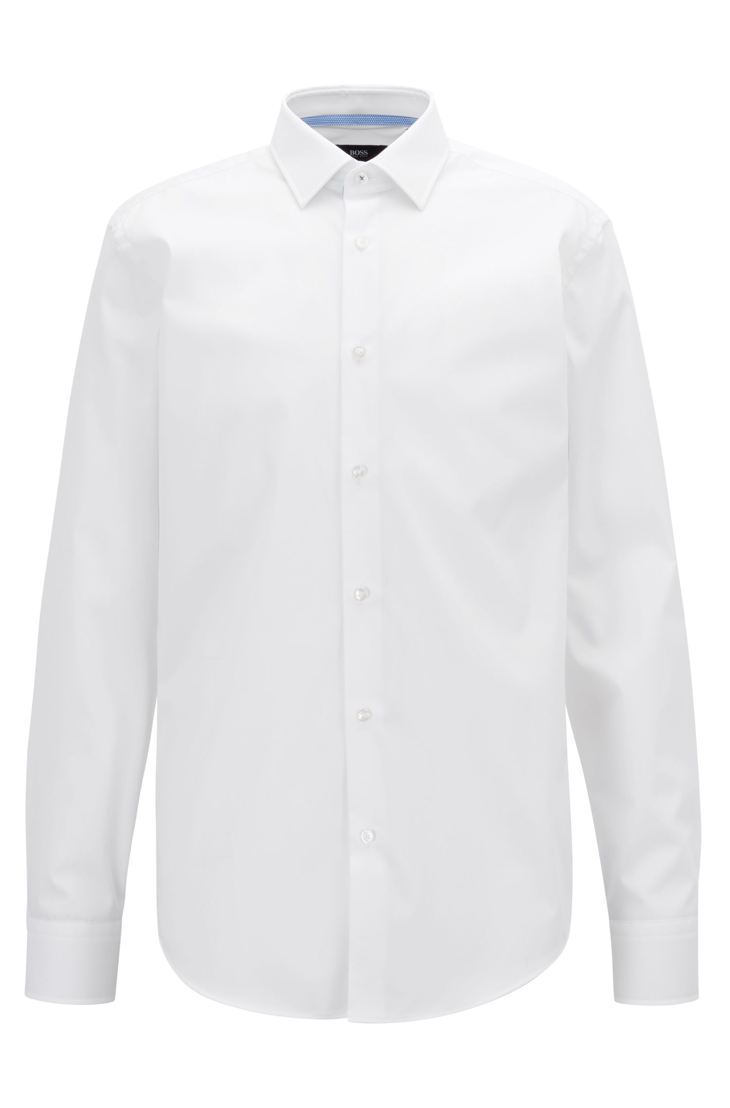 Regular-fit shirt in easy-iron cotton with inner contrasts, White