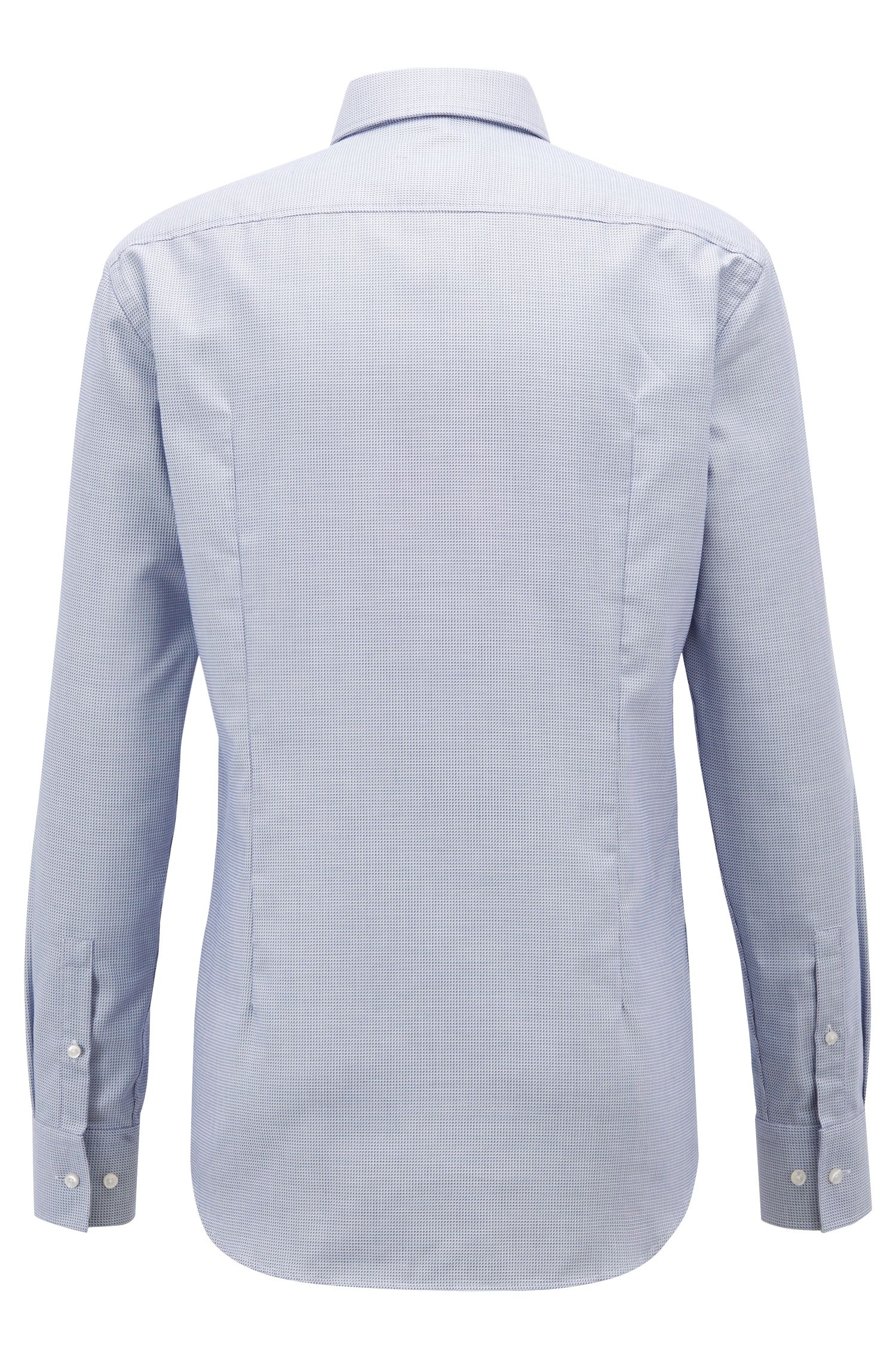 Slim-fit geometric shirt with Fresh Active finishing, Open Blue