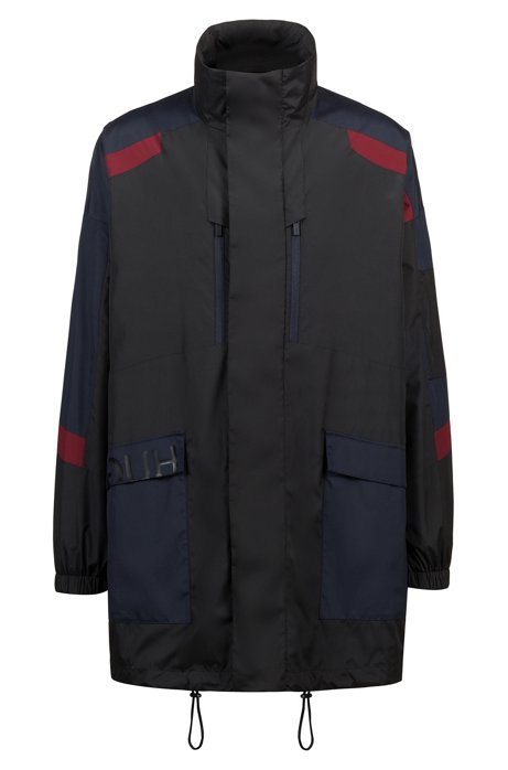 Water-repellent parka with reverse-logo print, Black