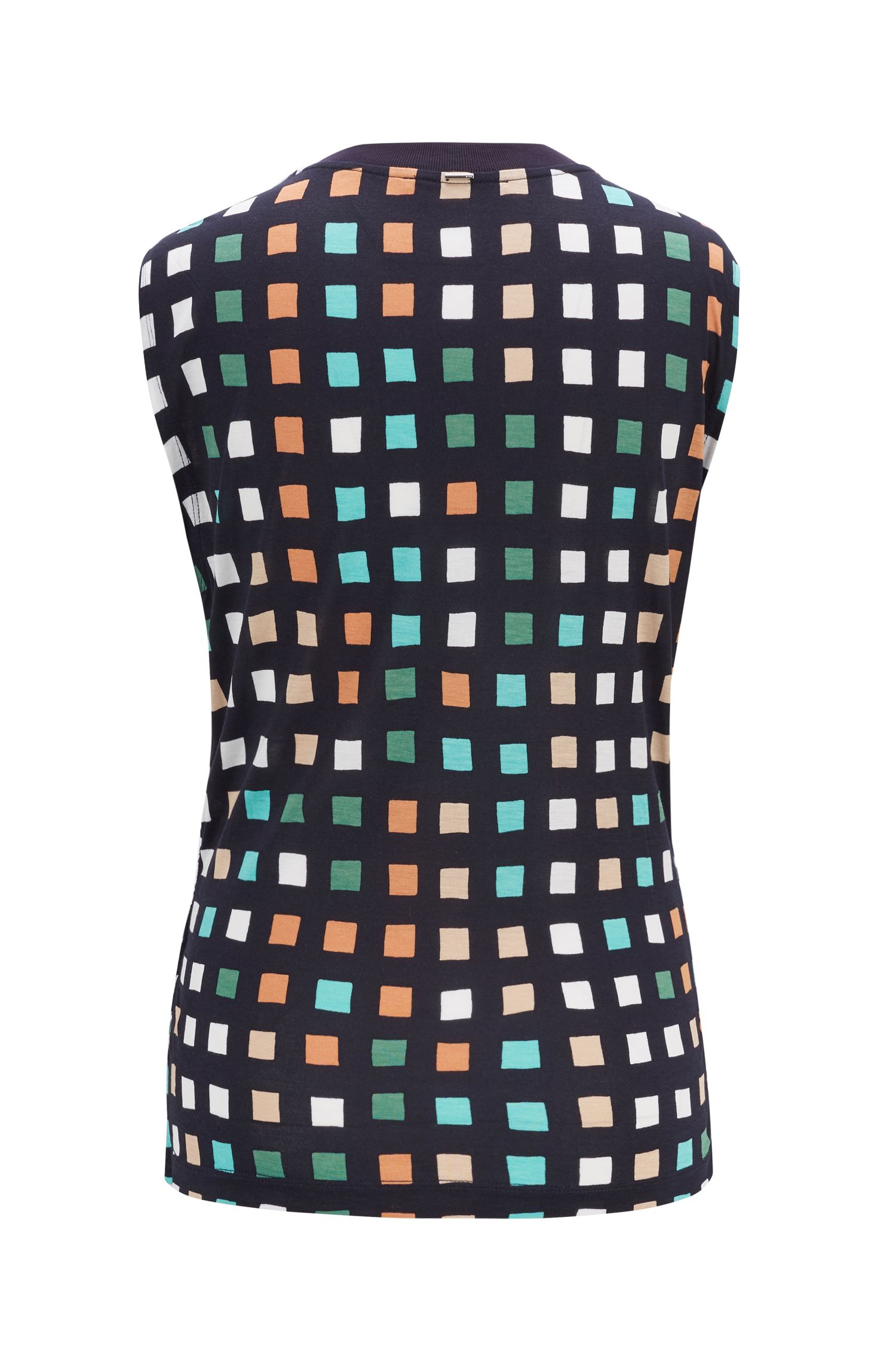 Sleeveless jersey top with ruched front and printed check, Patterned