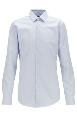 Slim-fit shirt with aloe vera finishing, Light Blue
