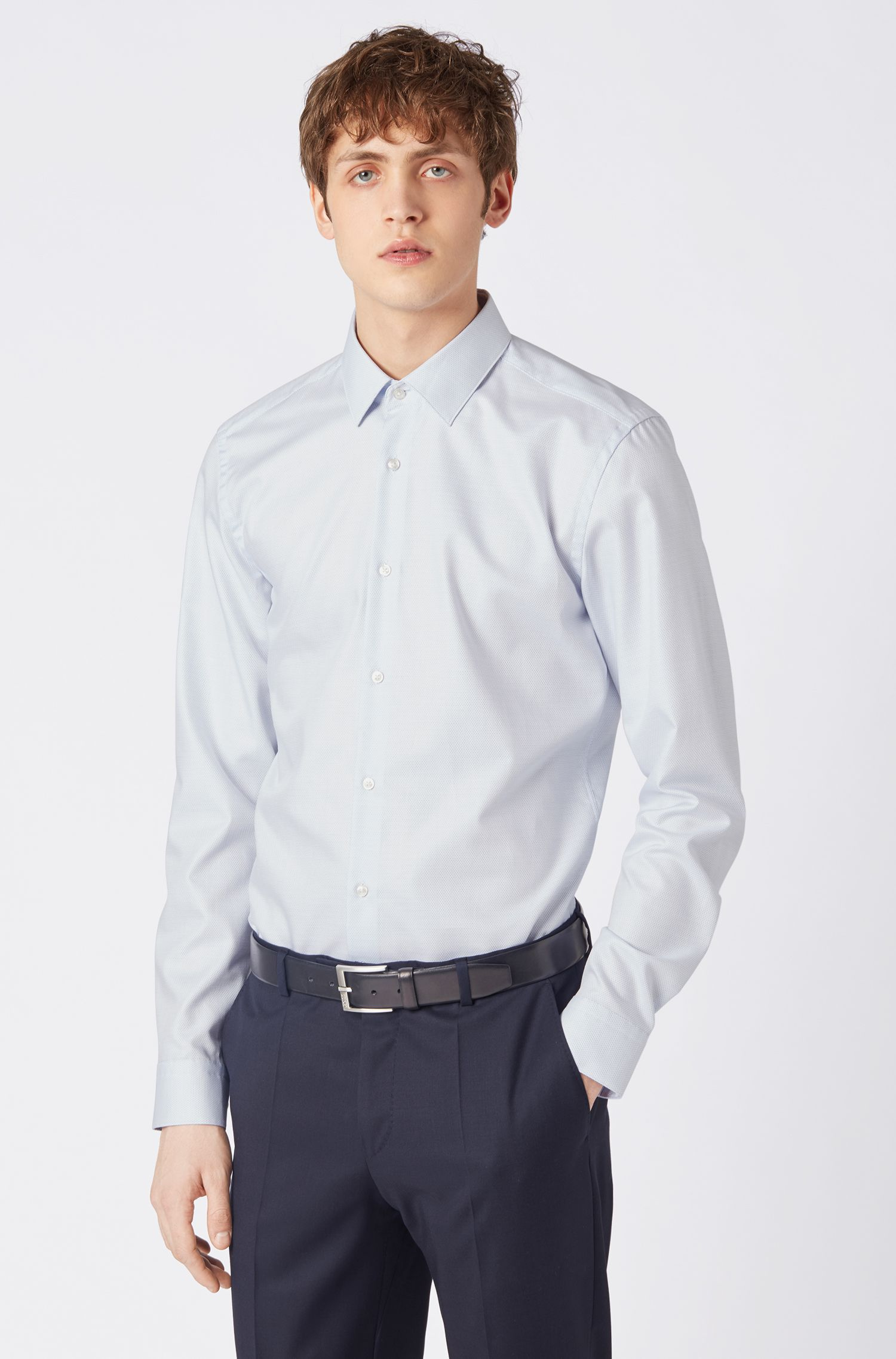 Travel Line slim-fit shirt with aloe vera finishing, Light Blue
