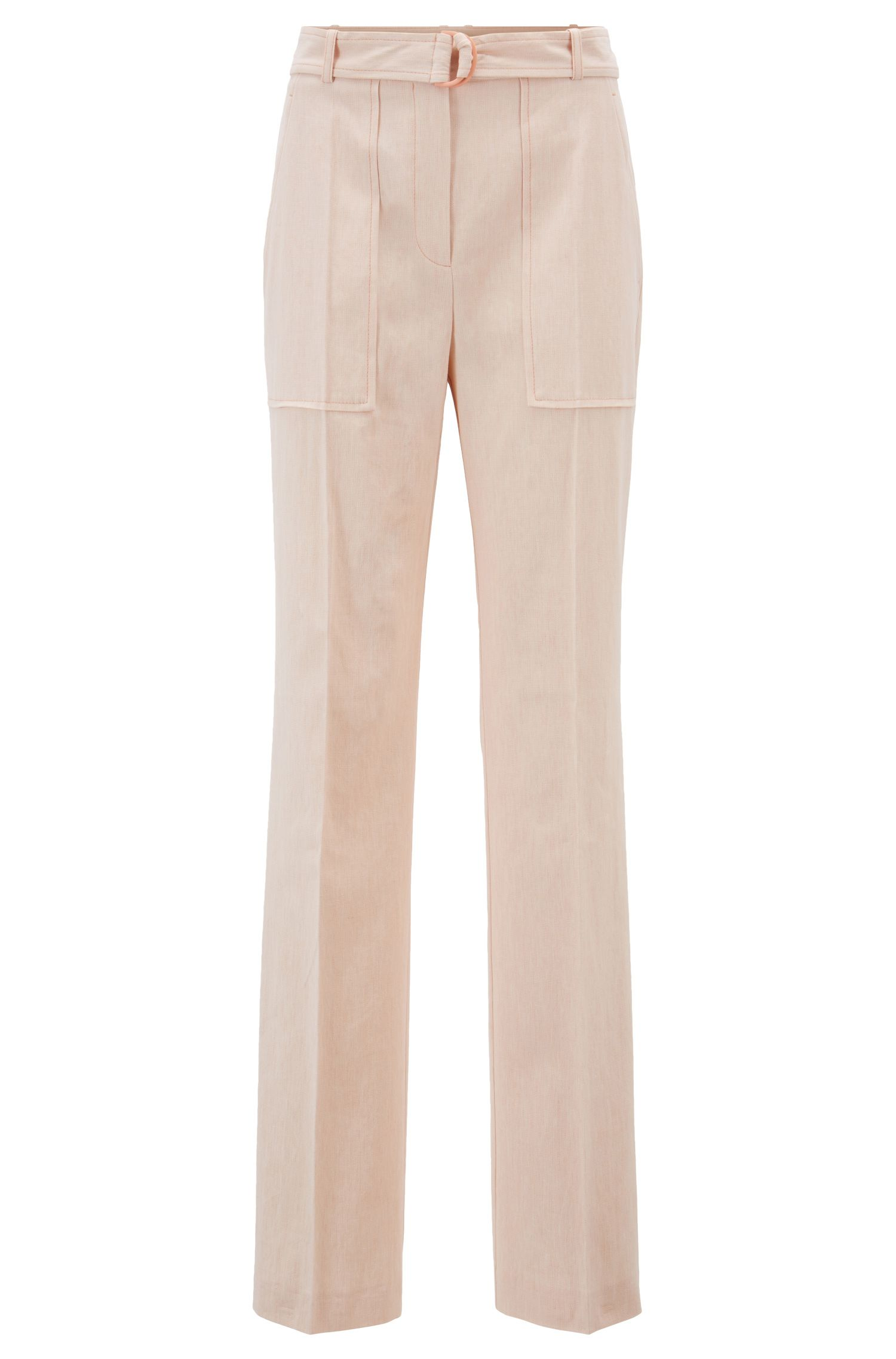 Relaxed-fit pants in an Italian cotton blend, Orange