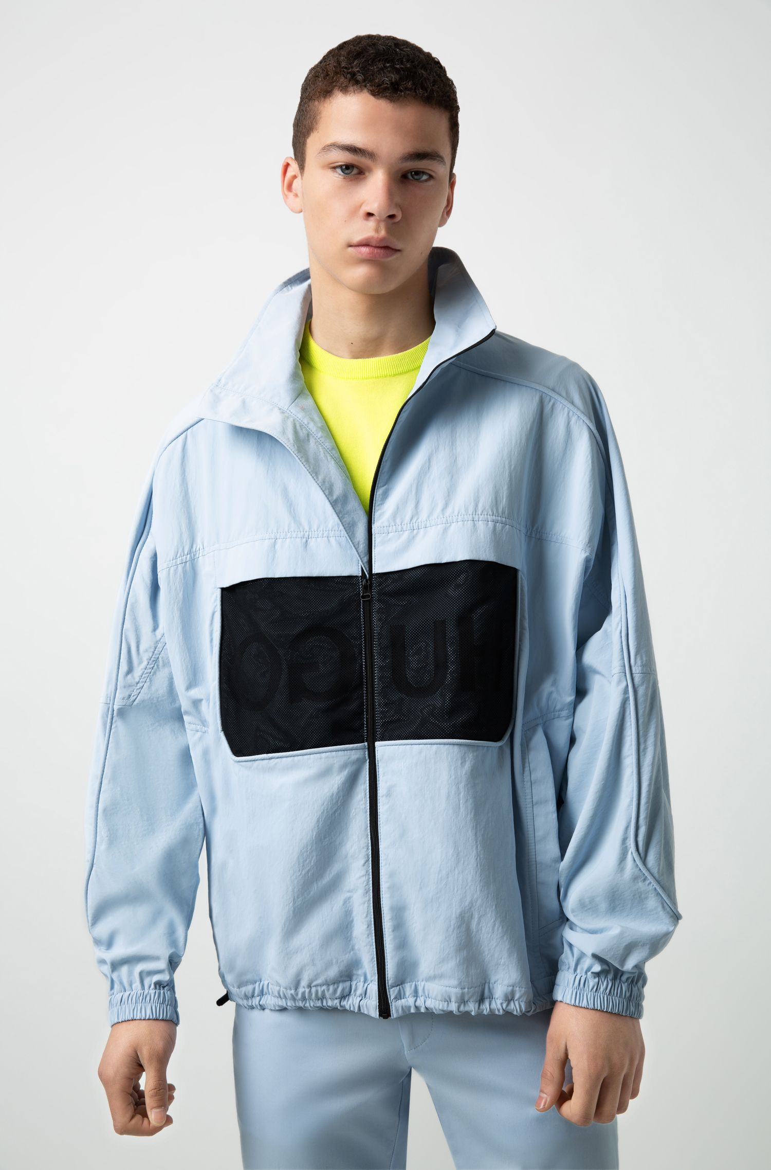 Relaxed-fit jacket in water-repellent technical fabric, Light Blue