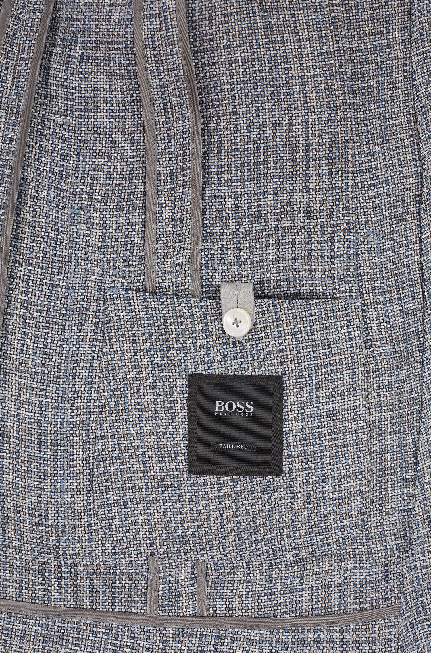 Slim-fit tailored jacket with semi-canvas workmanship, Dark Blue