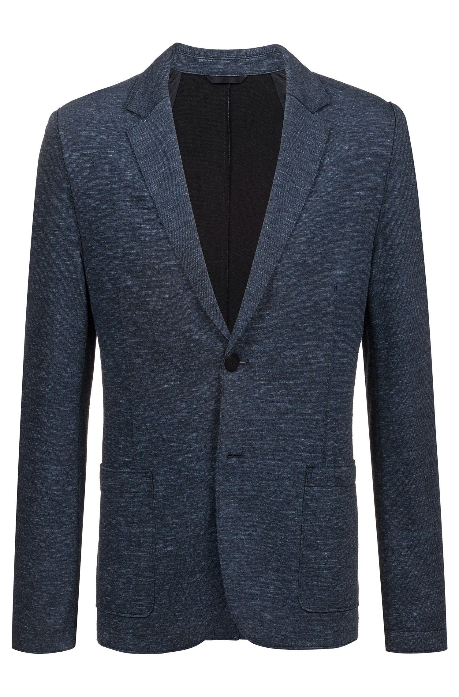 Extra-slim-fit jacket in raw-edge jersey, Dark Blue