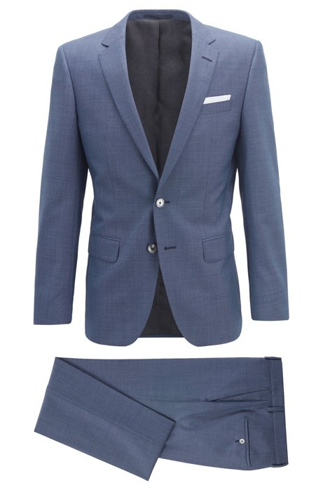Slim-fit suit in micro-pattern wool with pocket square, Dark Blue