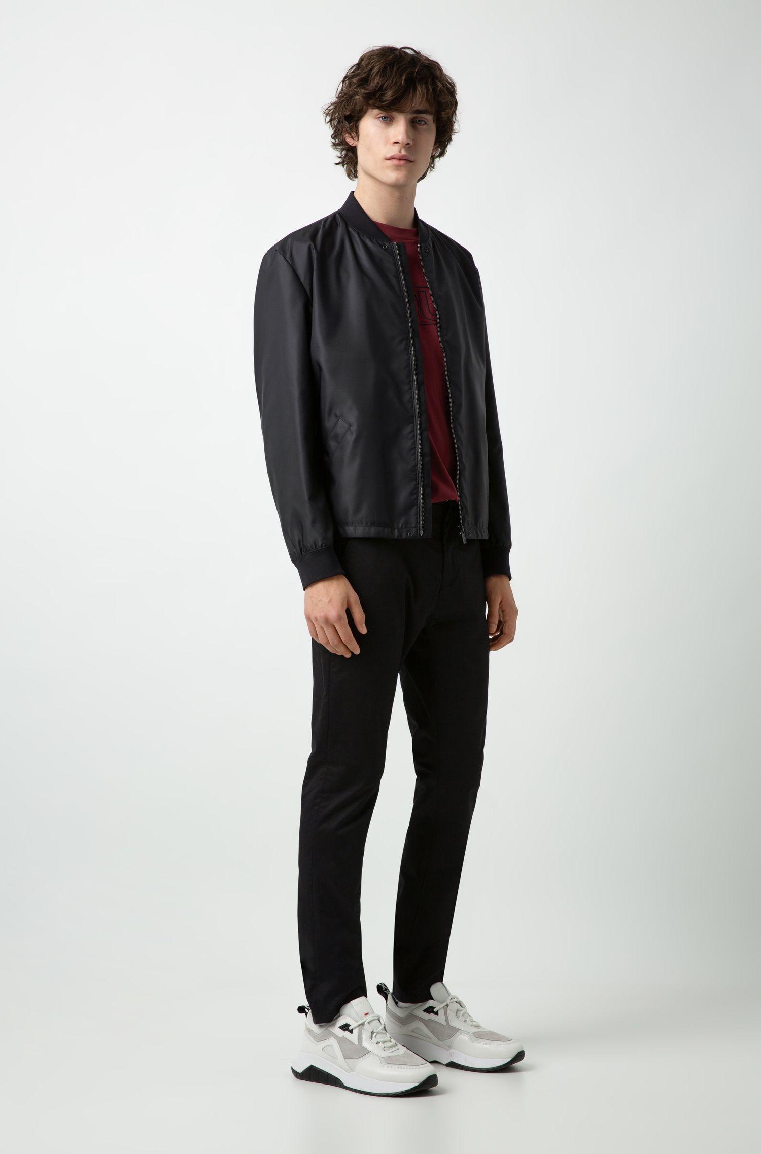 Slim-fit bomber jacket with foldable logo flap, Black