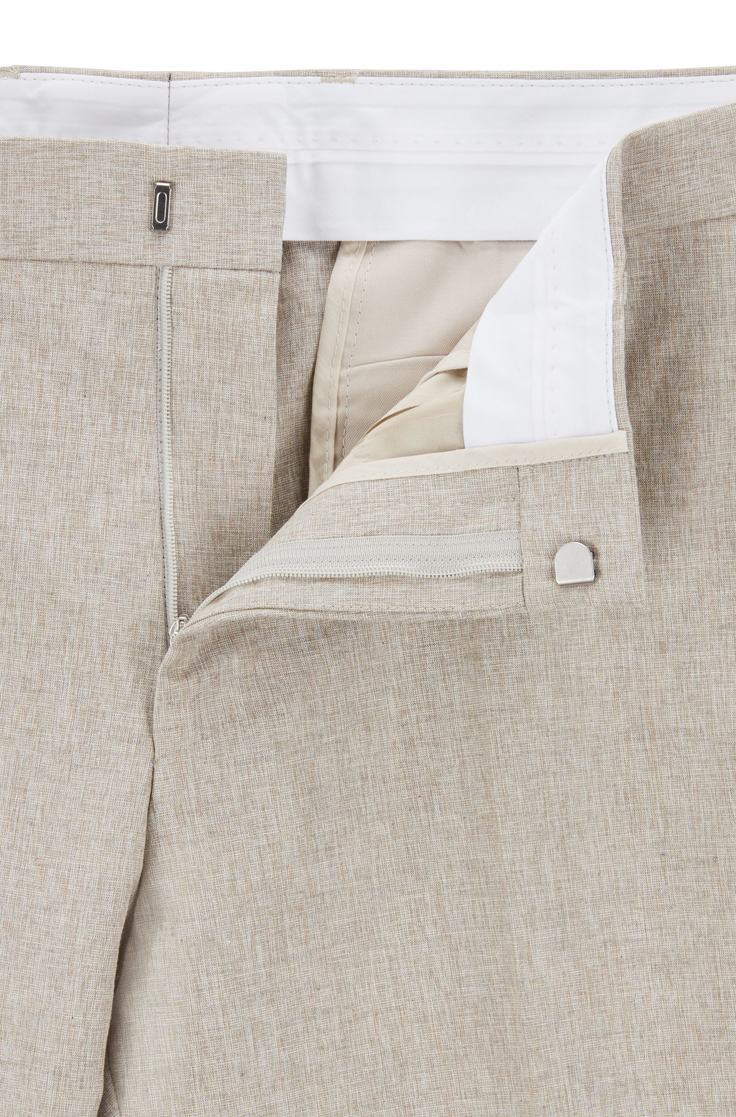 Slim-fit suit in cotton, linen and silk, Beige