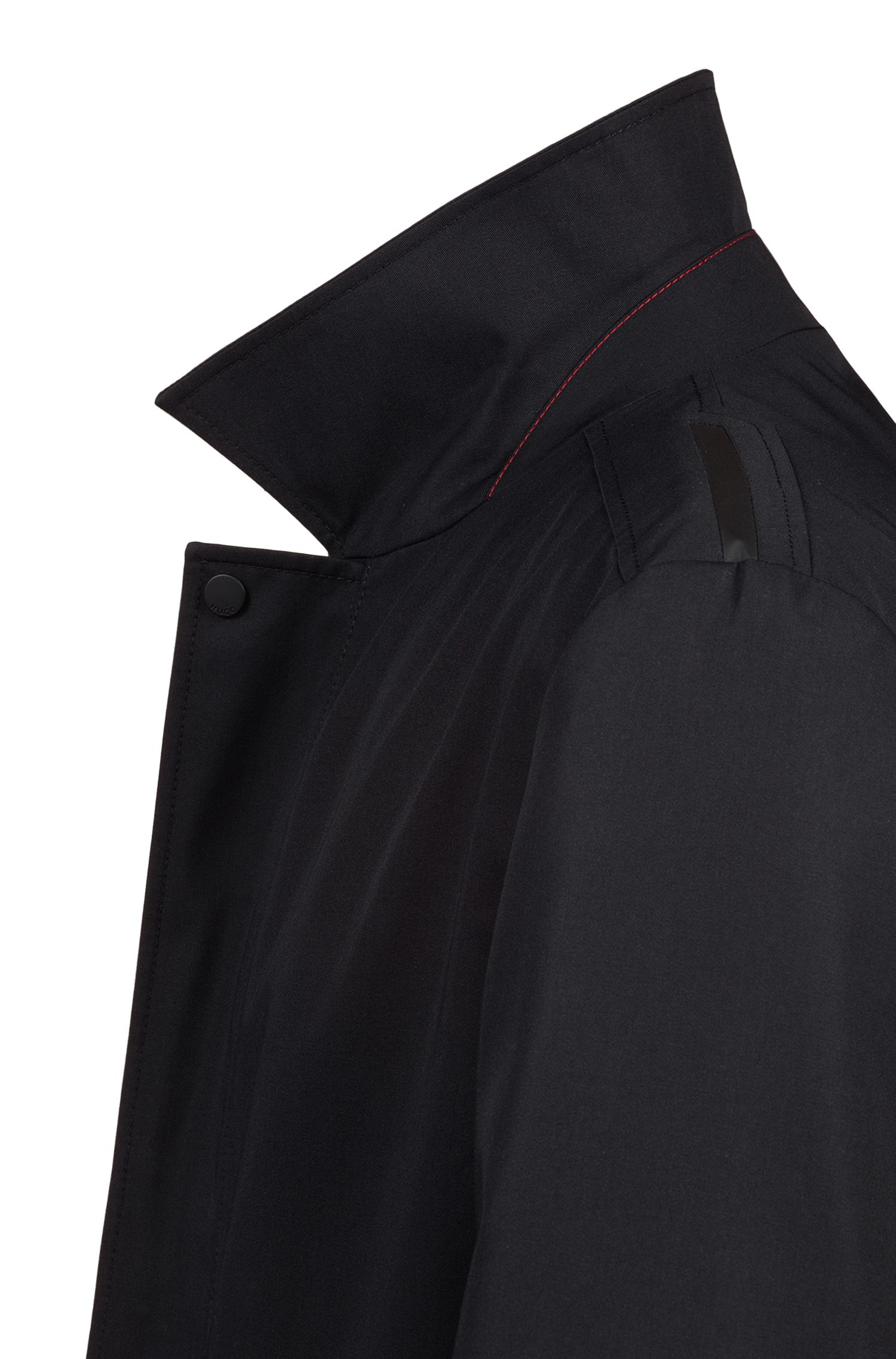 Water-repellent tailored coat with concealed zipper, Black