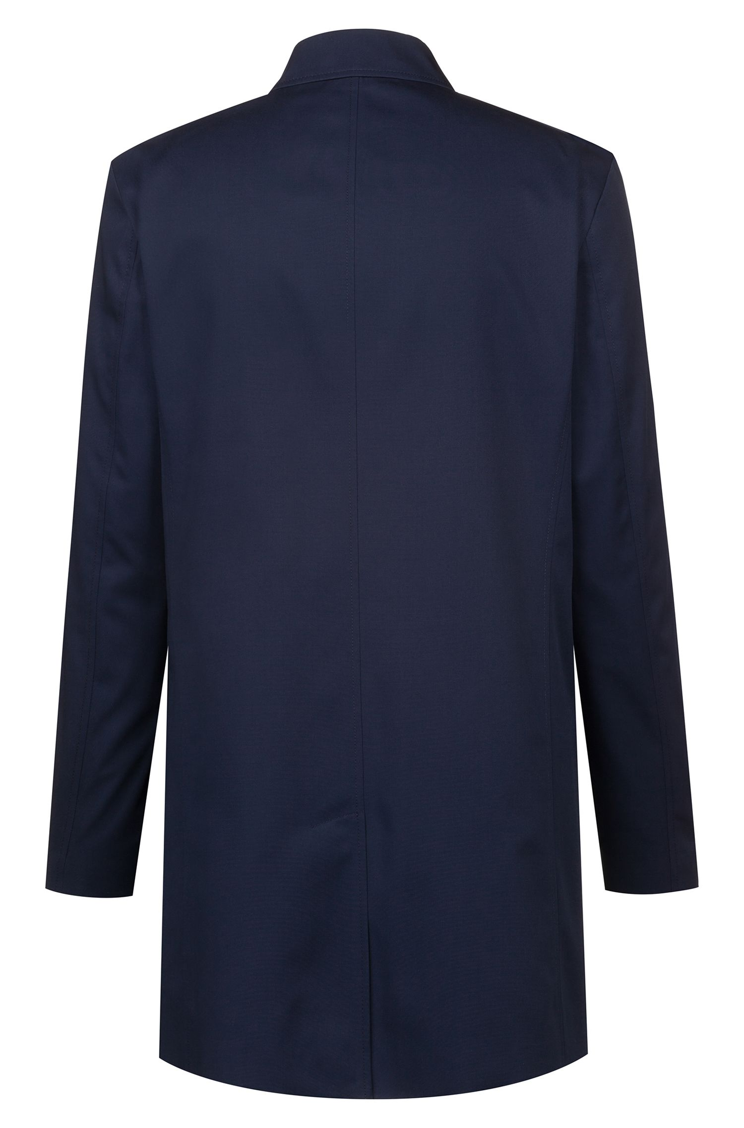 Water-repellent tailored coat with concealed zipper, Dark Blue