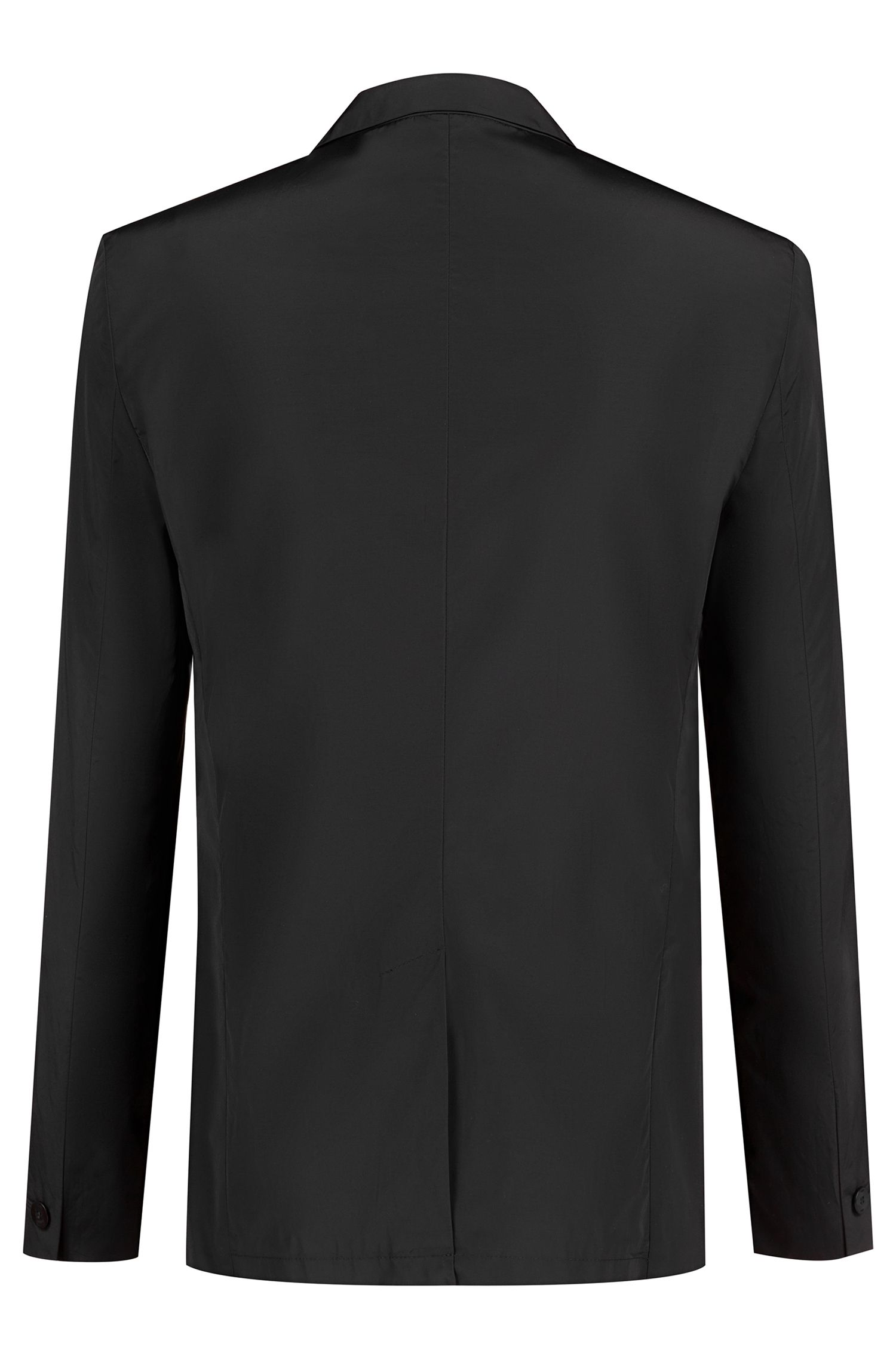 Water-repellent slim-fit jacket with cropped-logo lining, Black