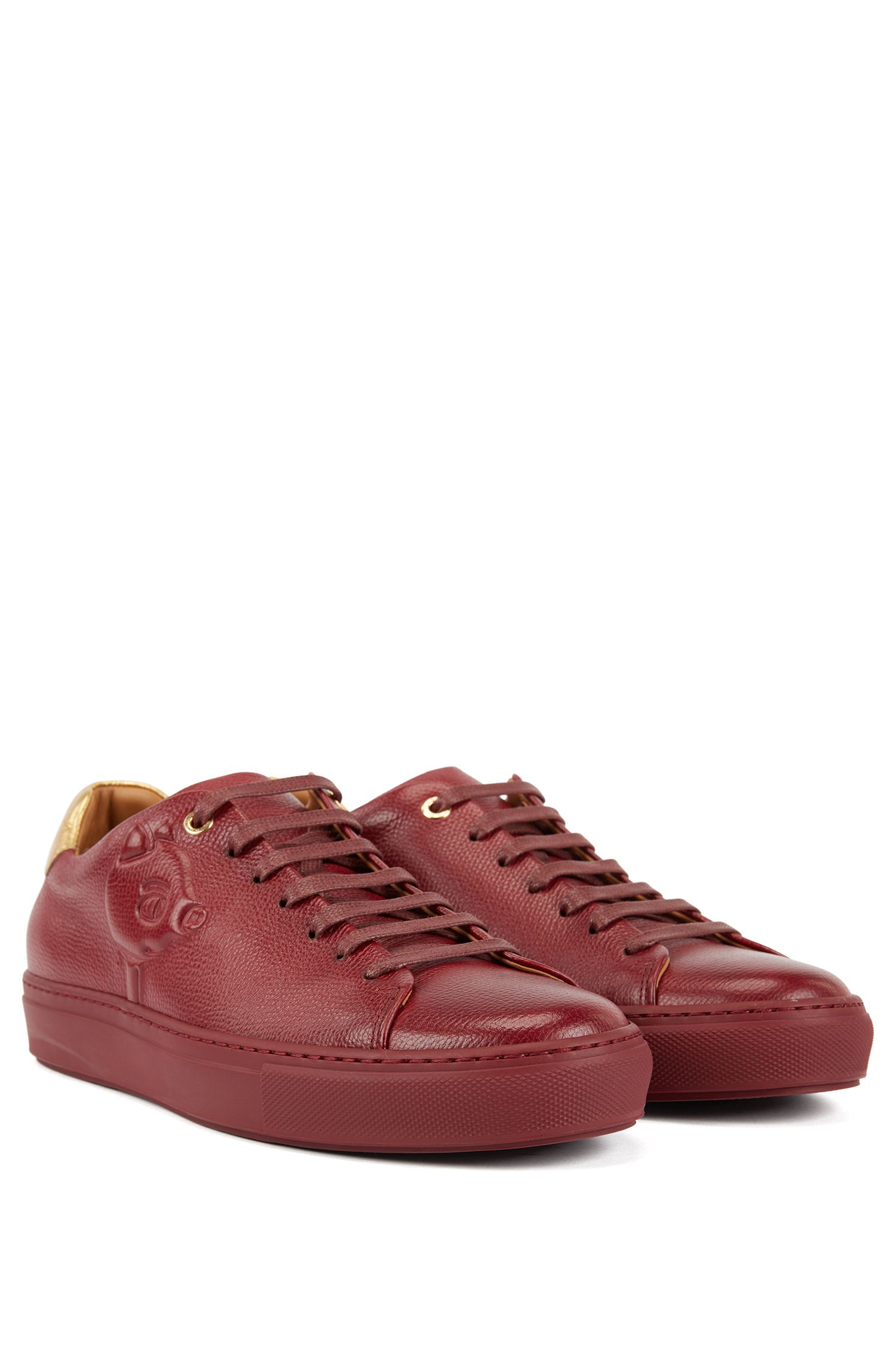 Limited-edition leather sneakers with embossed Jeremyville pig, Dark Red