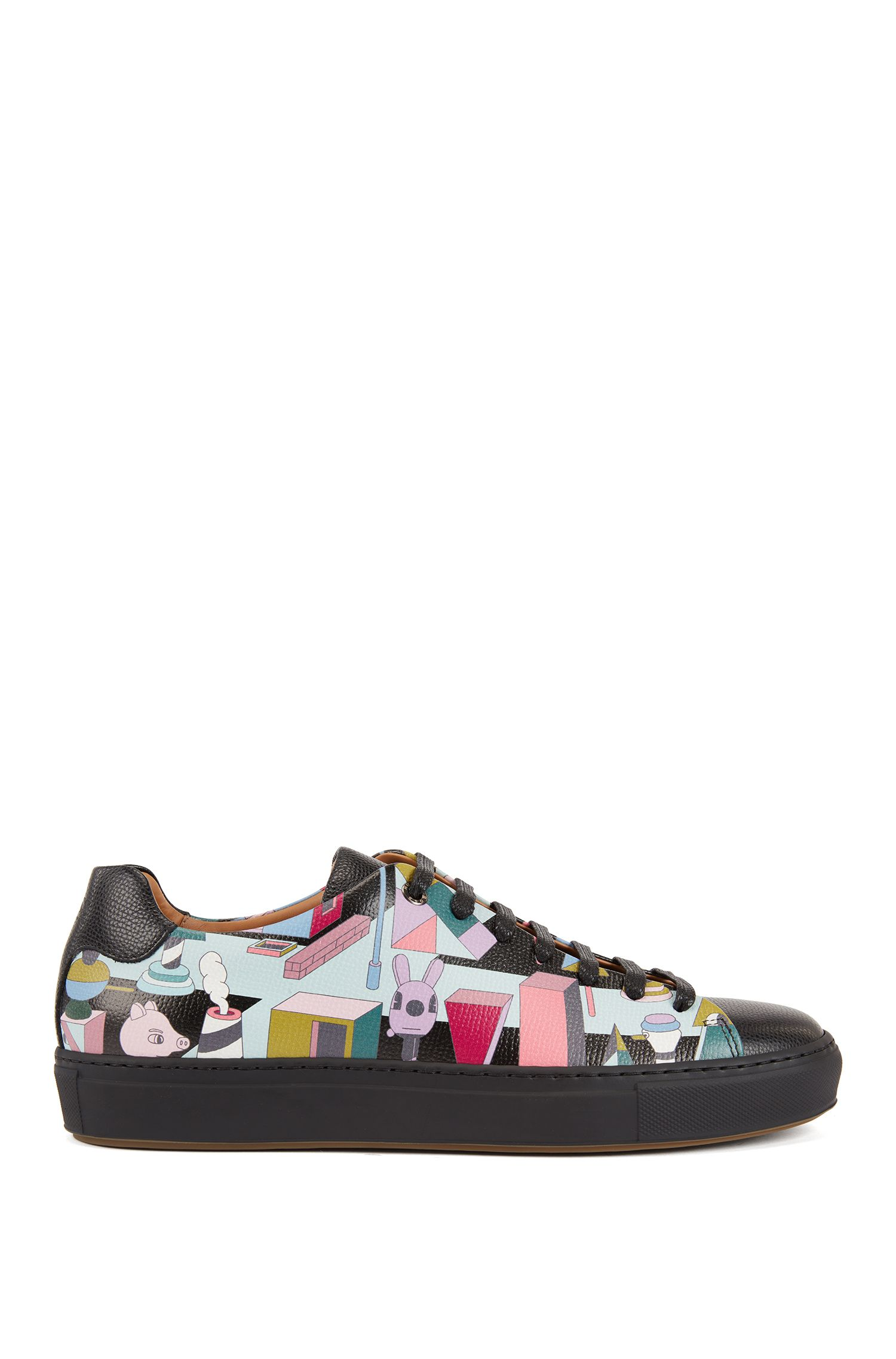 Limited-edition leather sneakers with colorful Jeremyville design, Patterned