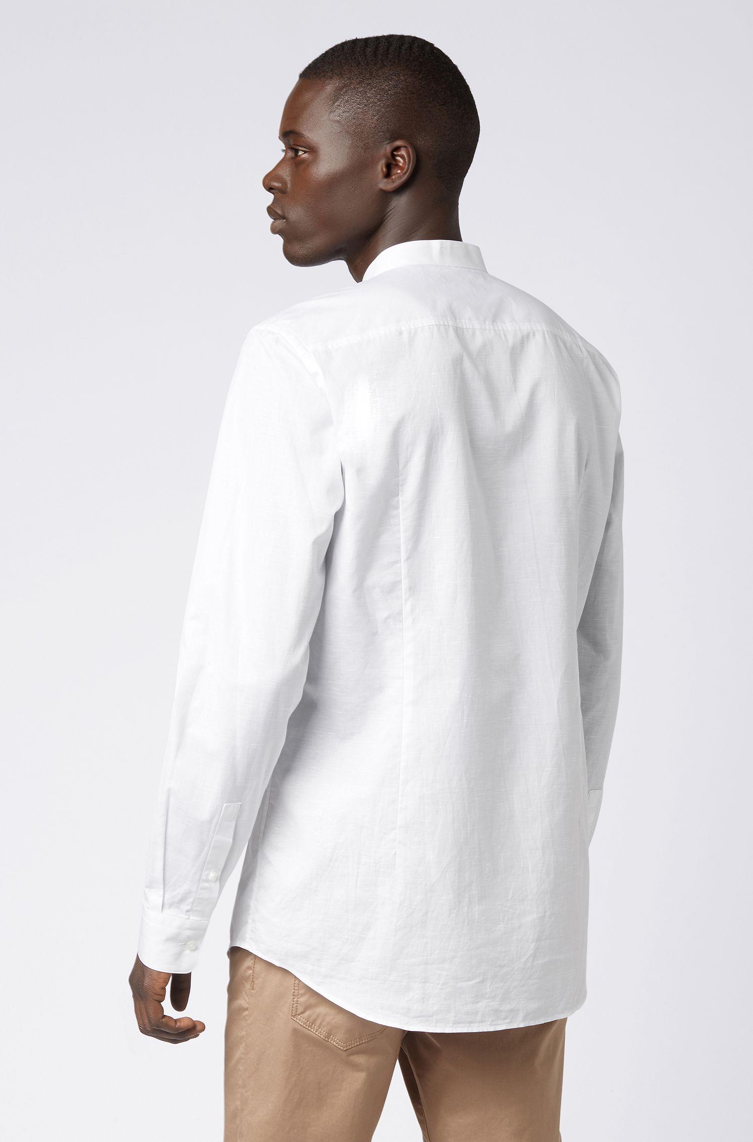 Slim-fit shirt in an Italian cotton-linen blend, White