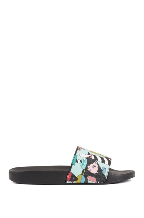 Limited-edition sliders with colorful Jeremyville print, Patterned