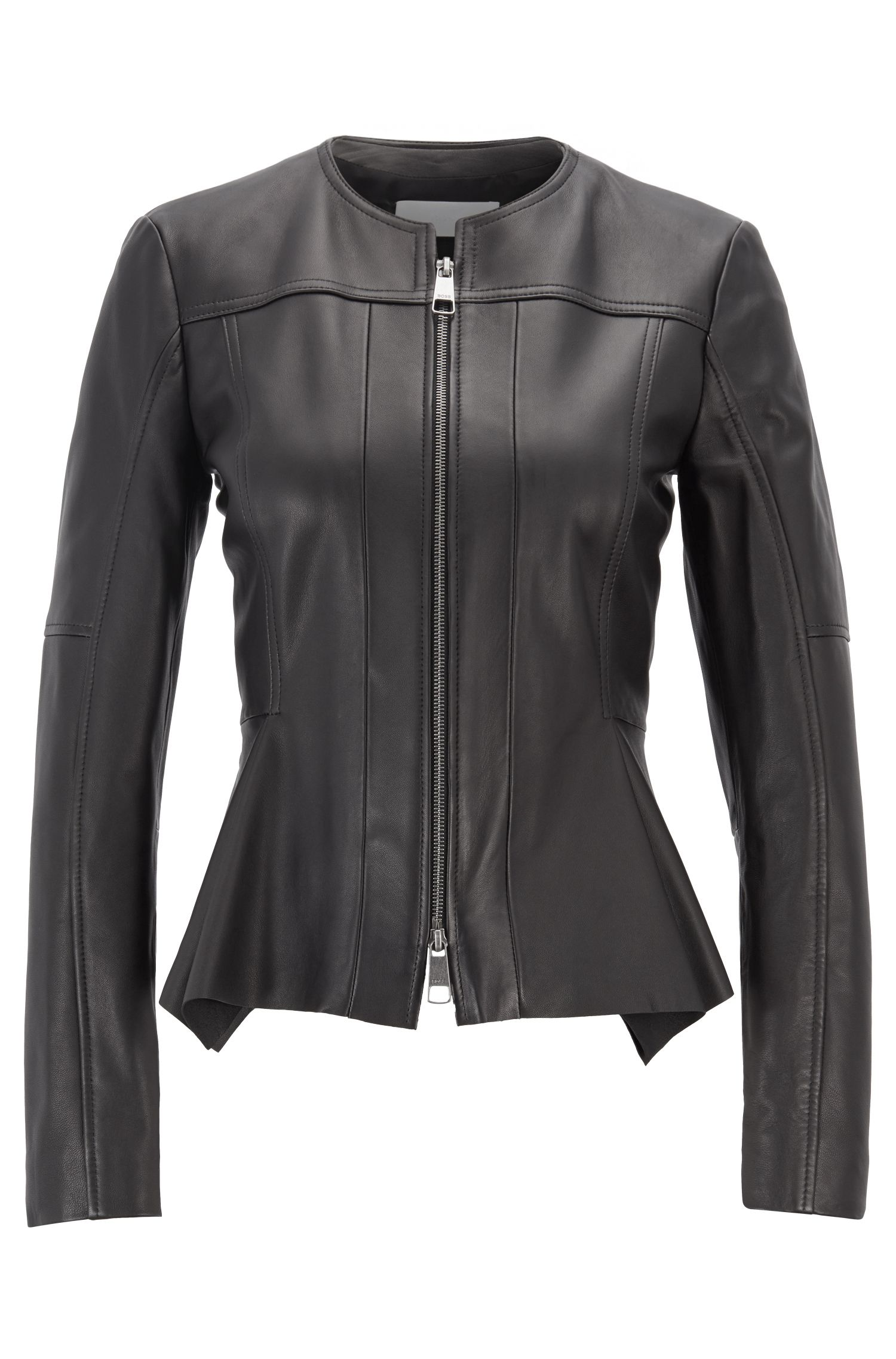Sim-fit biker jacket in nappa lambskin with zipper, Black