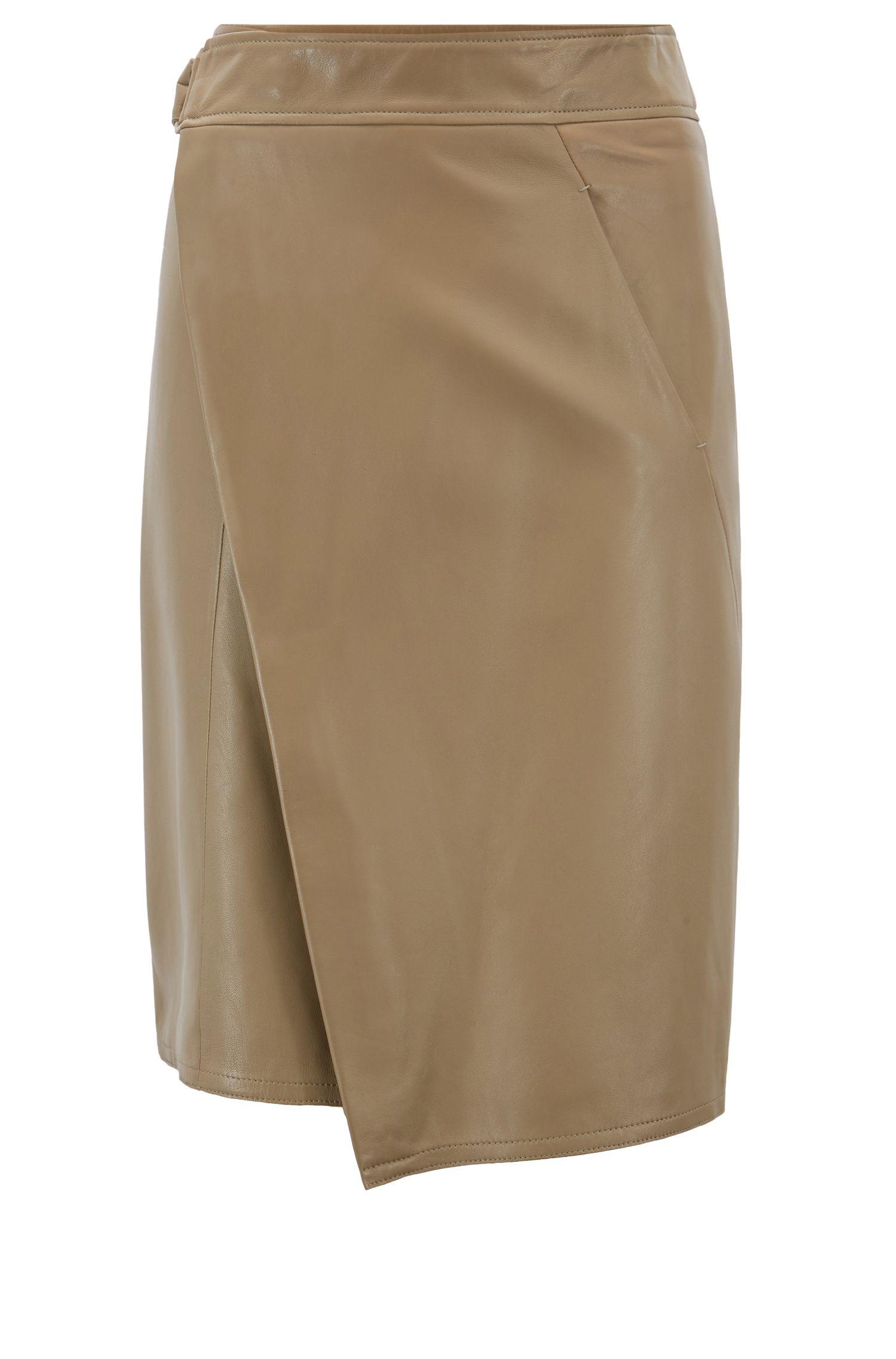 A-line wrap skirt in lambskin with belt, Open Brown