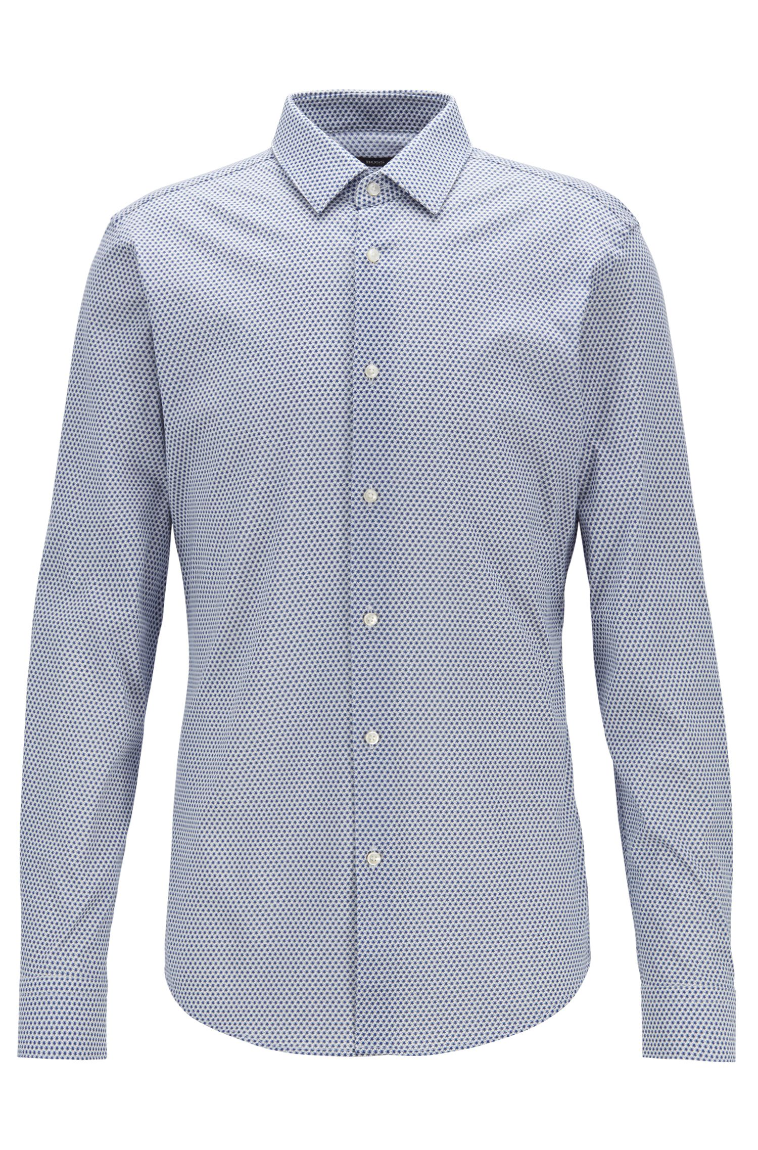 Slim-fit shirt with micro-fish motif, Blue