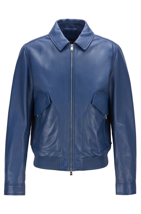 7f3be0b7108e BOSS - Bomber jacket in nappa leather with shirt-style collar