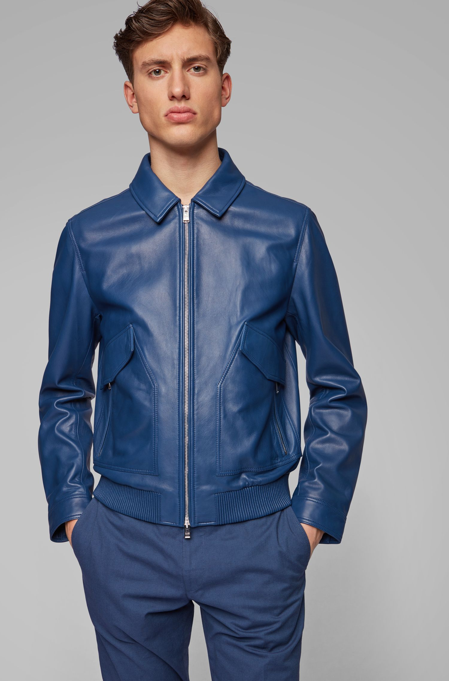 Bomber jacket in nappa leather with shirt-style collar, Dark Blue