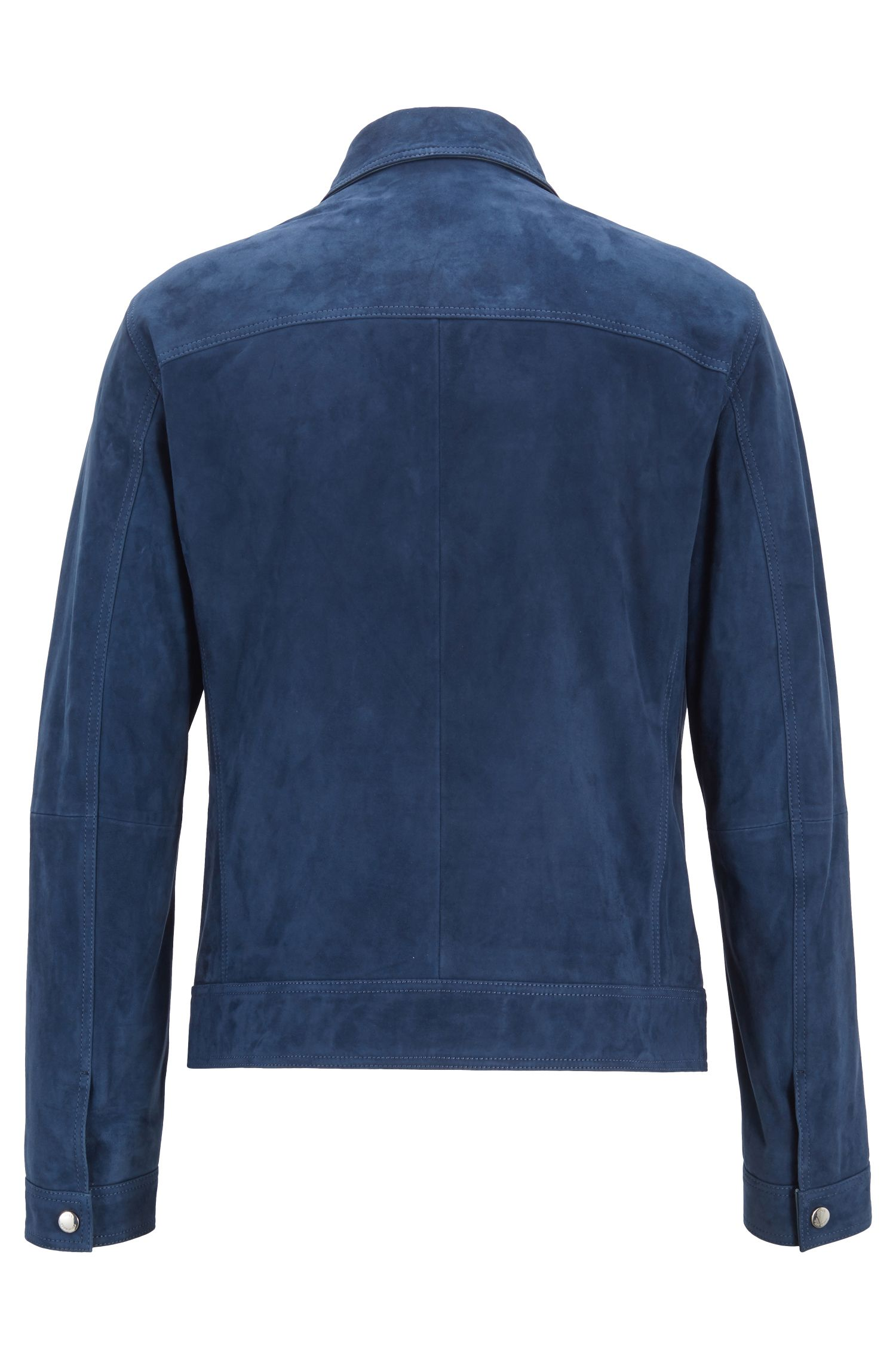 Regular-fit suede jacket with nappa-leather details, Open Blue