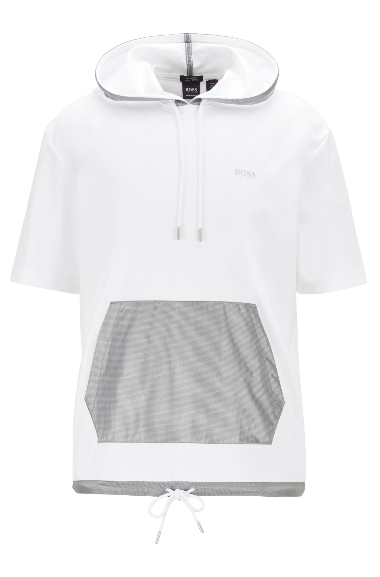Relaxed-fit hooded T-shirt with contrast pocket, White