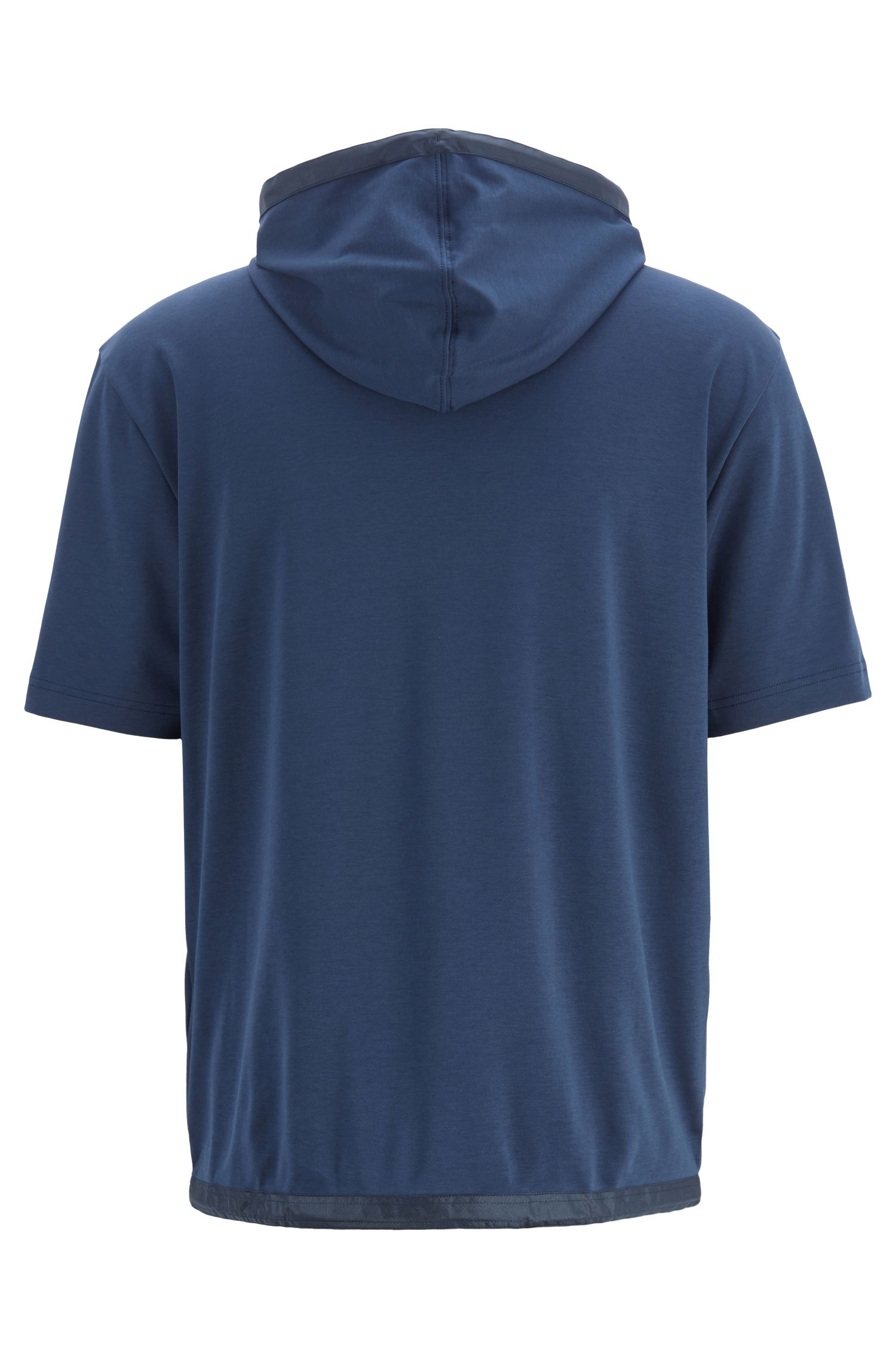 Relaxed-fit hooded T-shirt with contrast pocket, Dark Blue