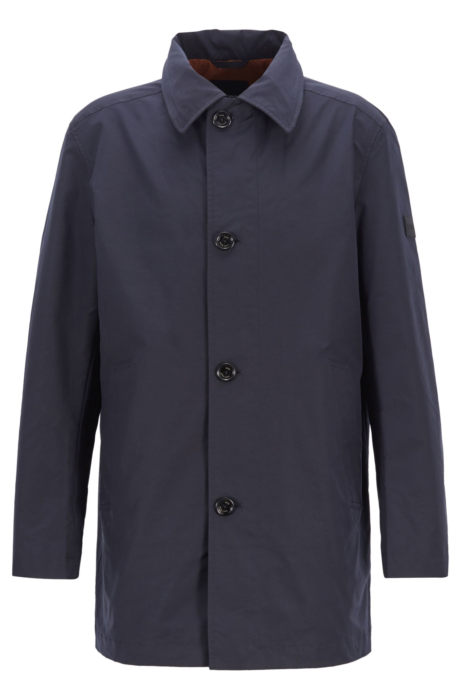 Water-repellent automobile coat with stowaway hood, Dark Blue