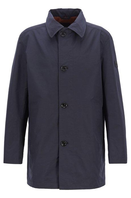 Water-repellent automobile coat with stowaway hood, Dark Blue