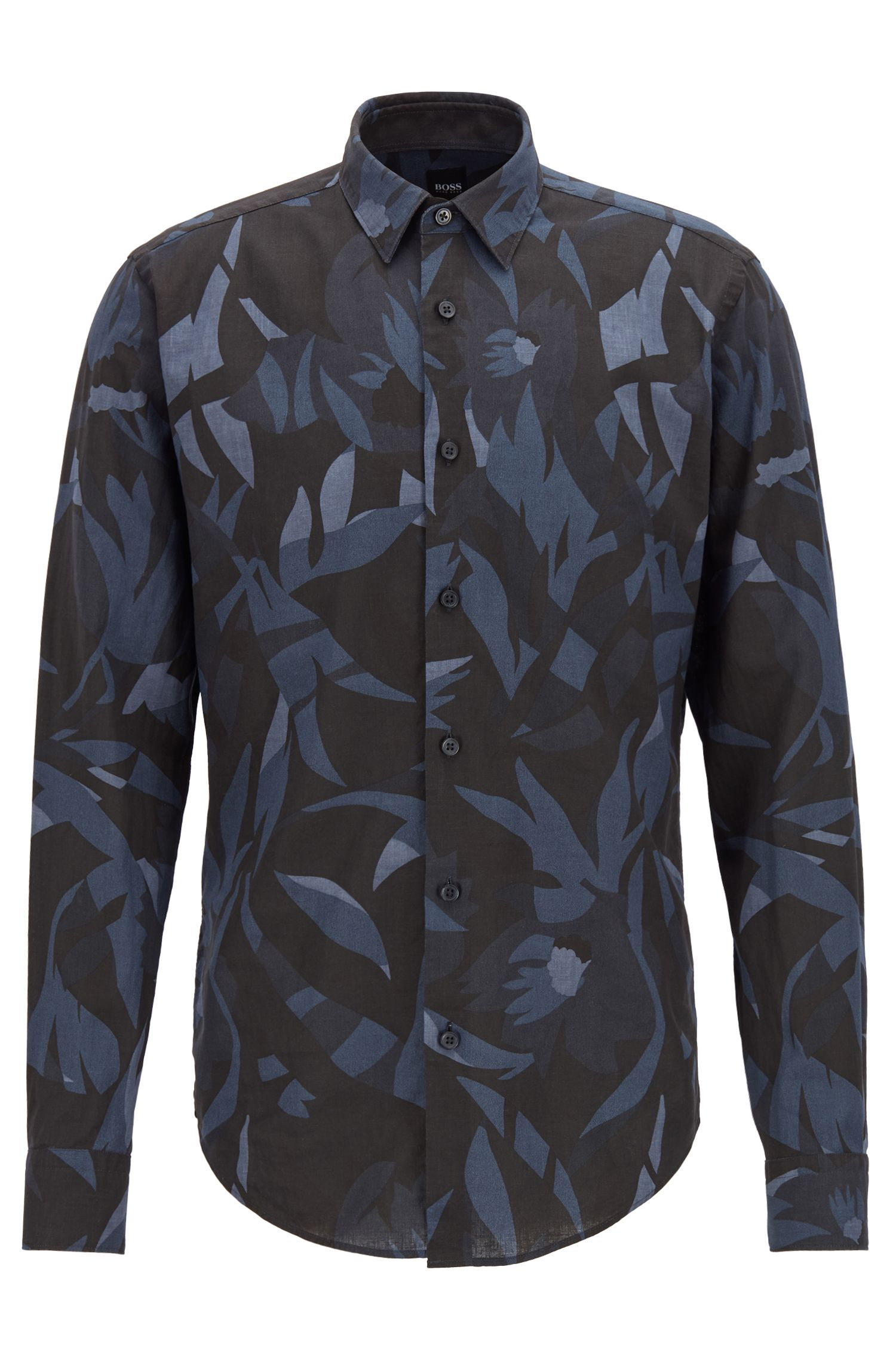 Slim-fit linen-blend shirt with exclusive print, Open Blue