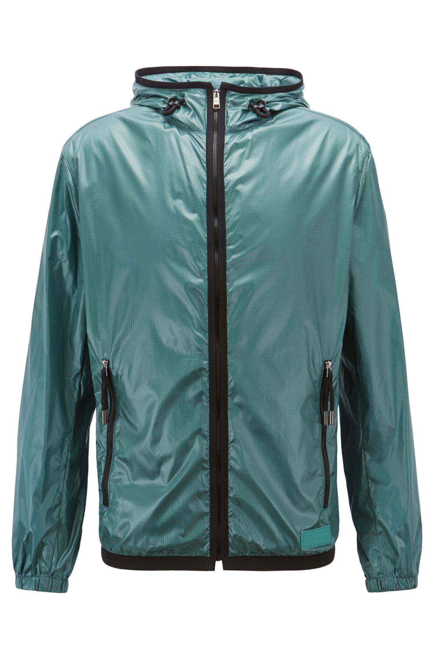 Hooded windbreaker jacket in lightweight fabric with glossy finish, Open Green