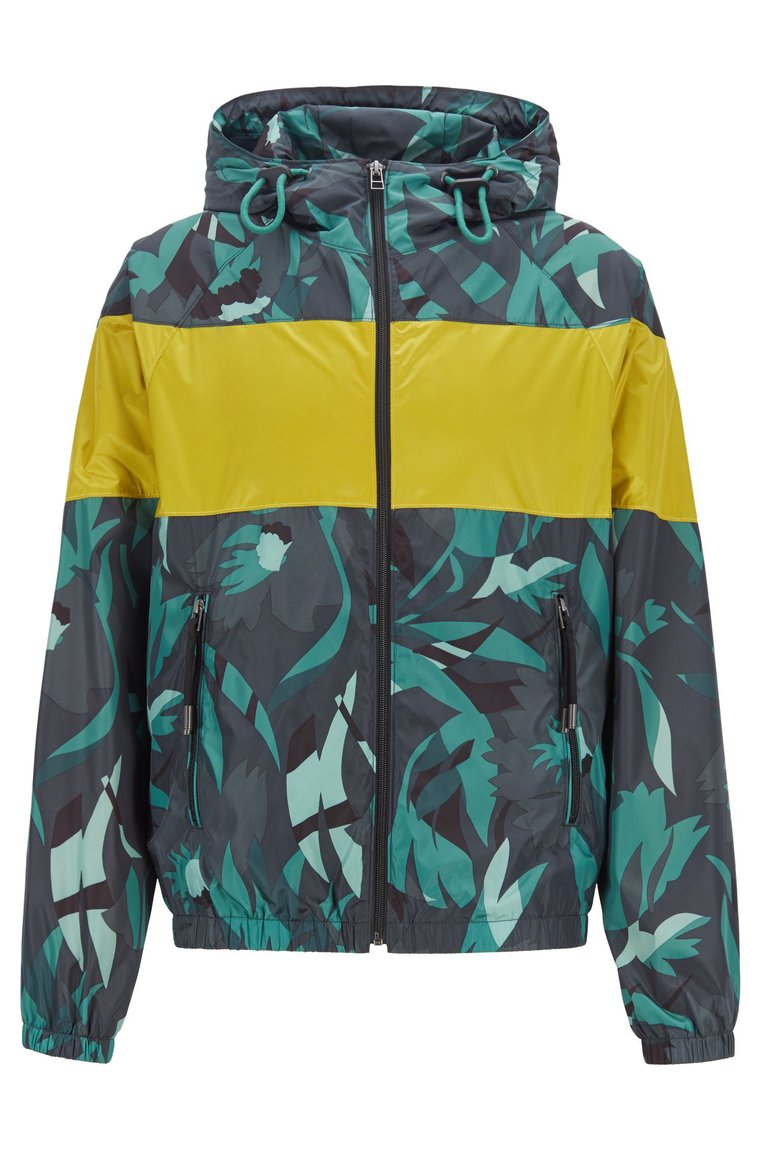 Packable windbreaker with camouflage print and color-block insert, Open Green