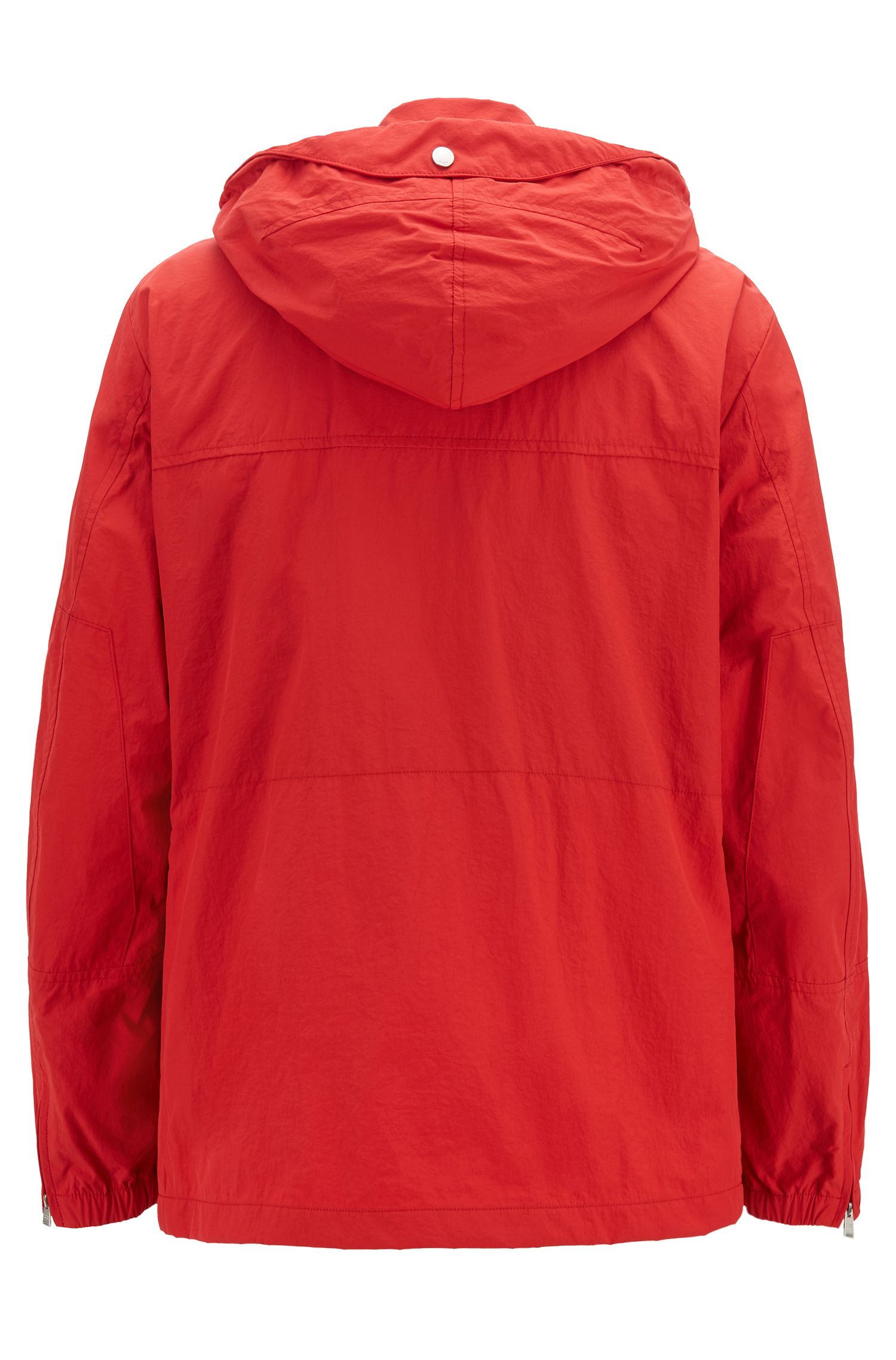 Water-repellent hooded jacket with oversize pockets, Red