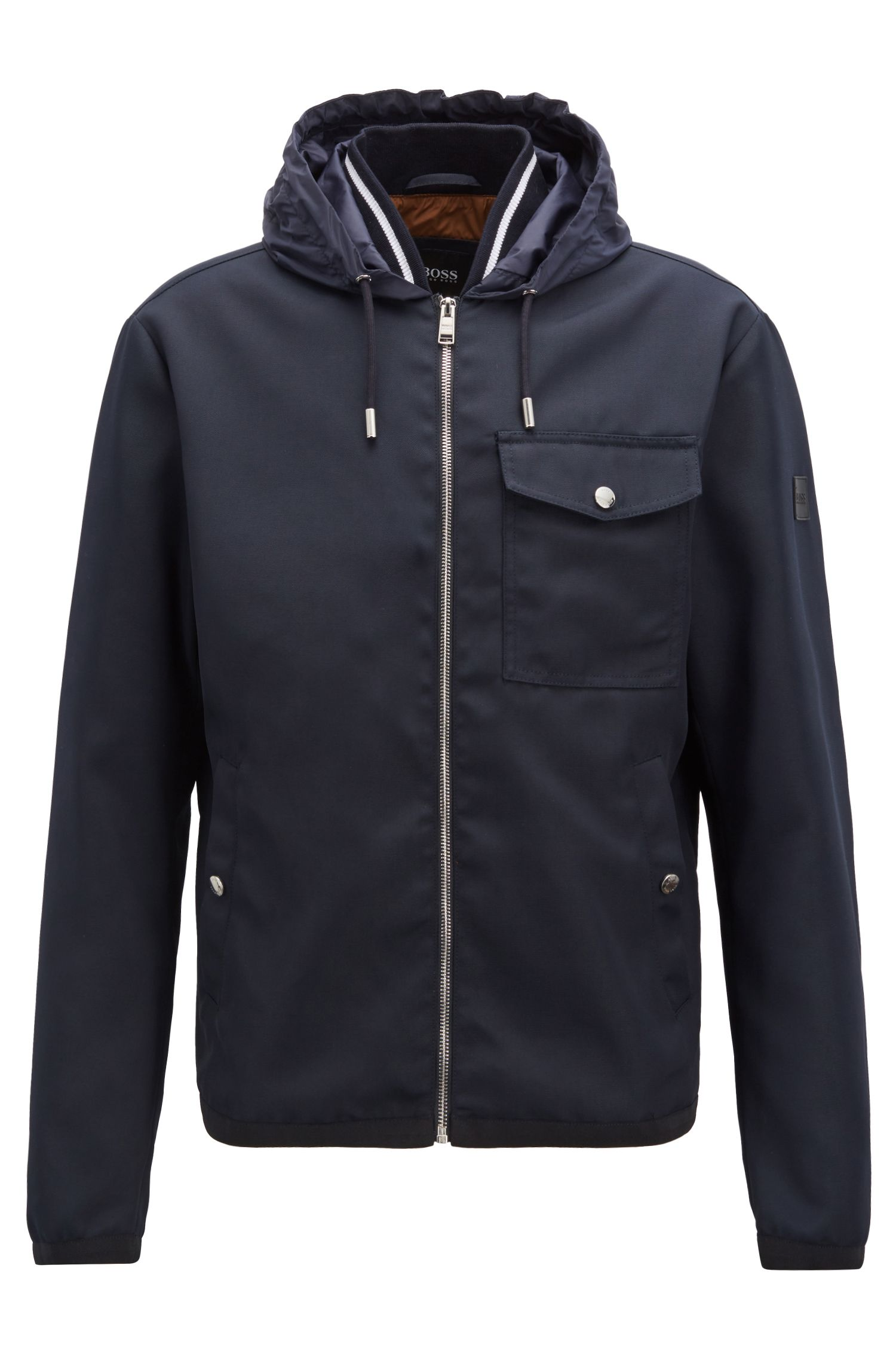 Relaxed-fit jacket with a knitted inner collar, Dark Blue