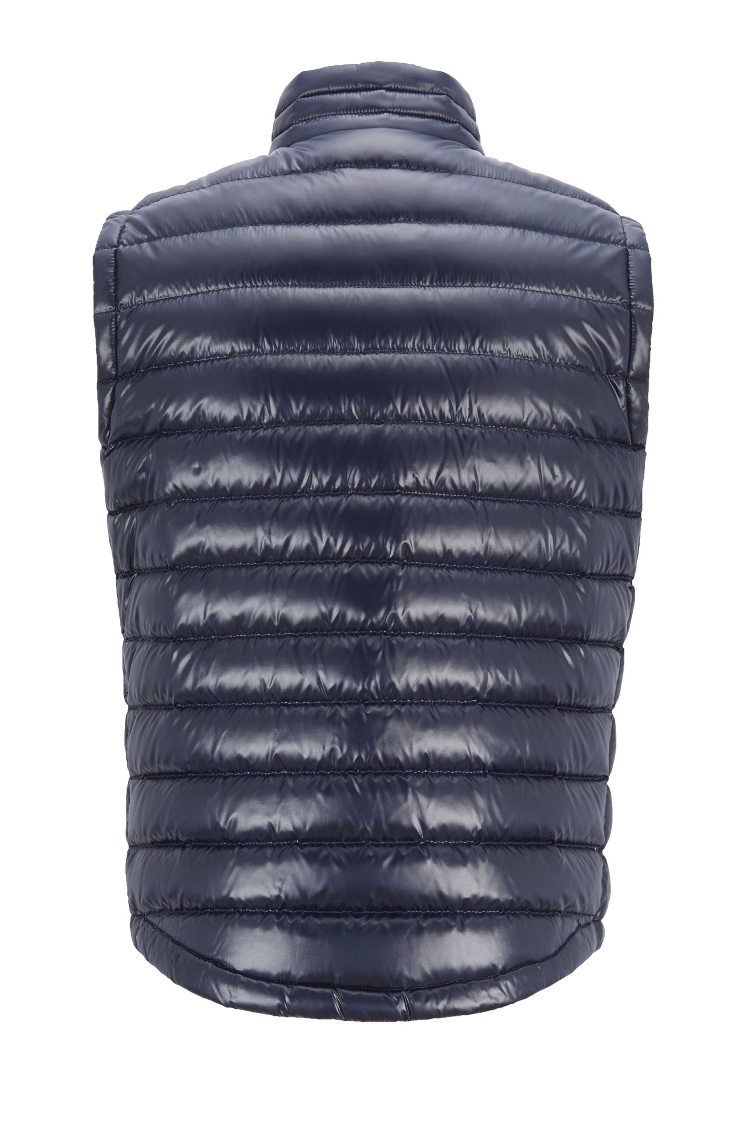 Regular-fit gilet in glossy water-repellent fabric, Dark Blue