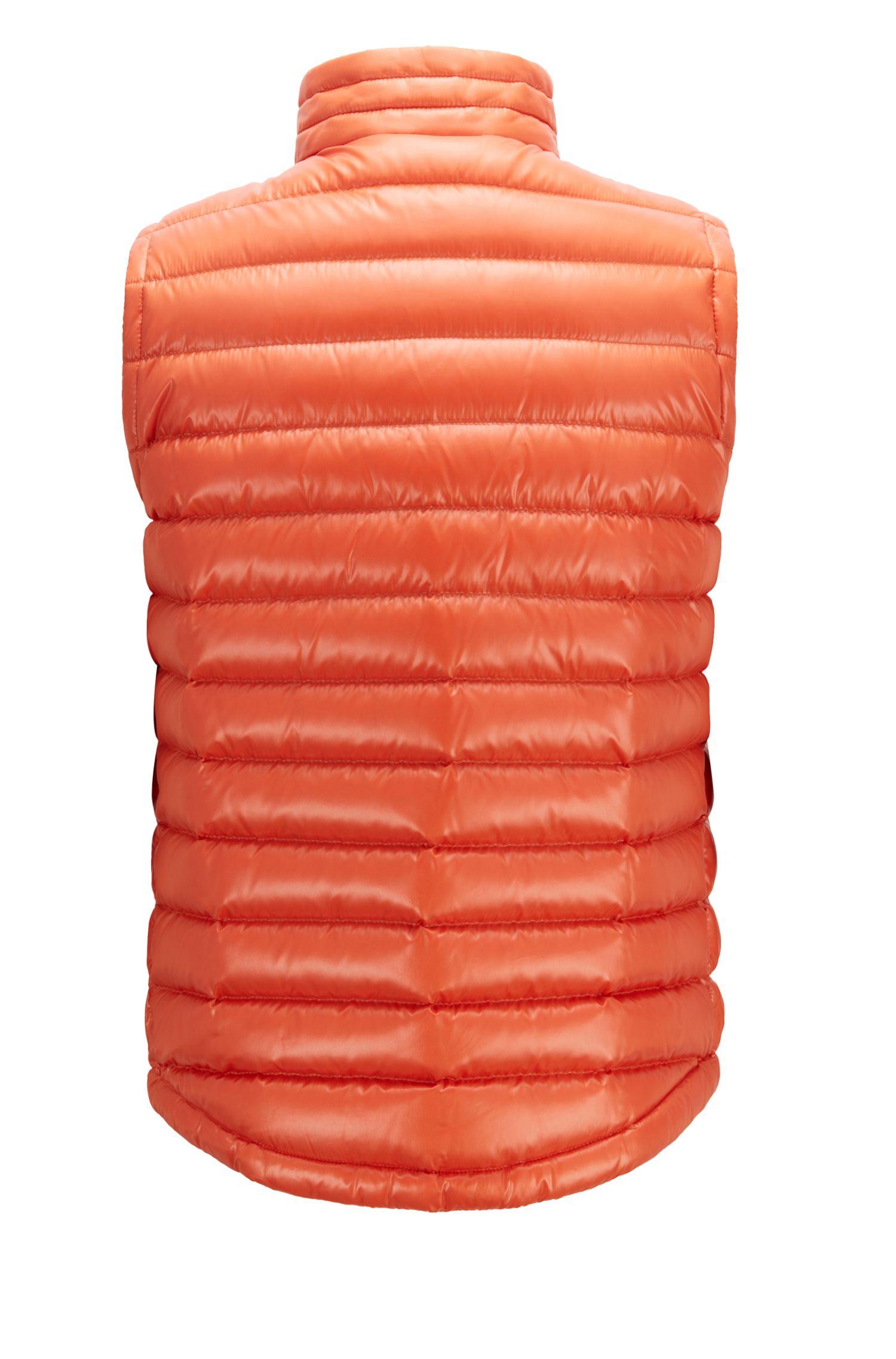Regular-fit gilet in glossy water-repellent fabric, Orange