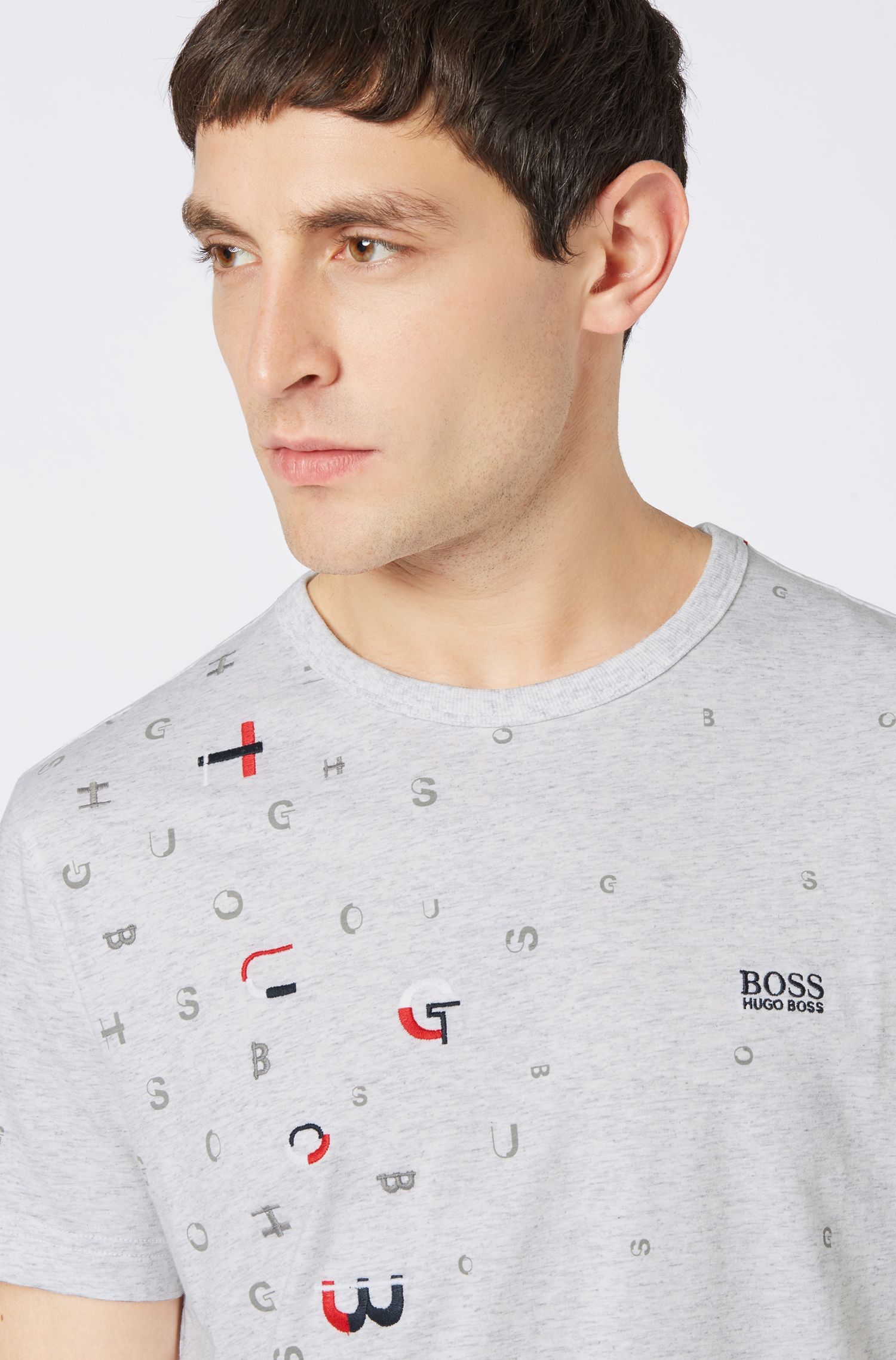 Cotton-jersey T-shirt with scattered logo embroidery, Light Grey