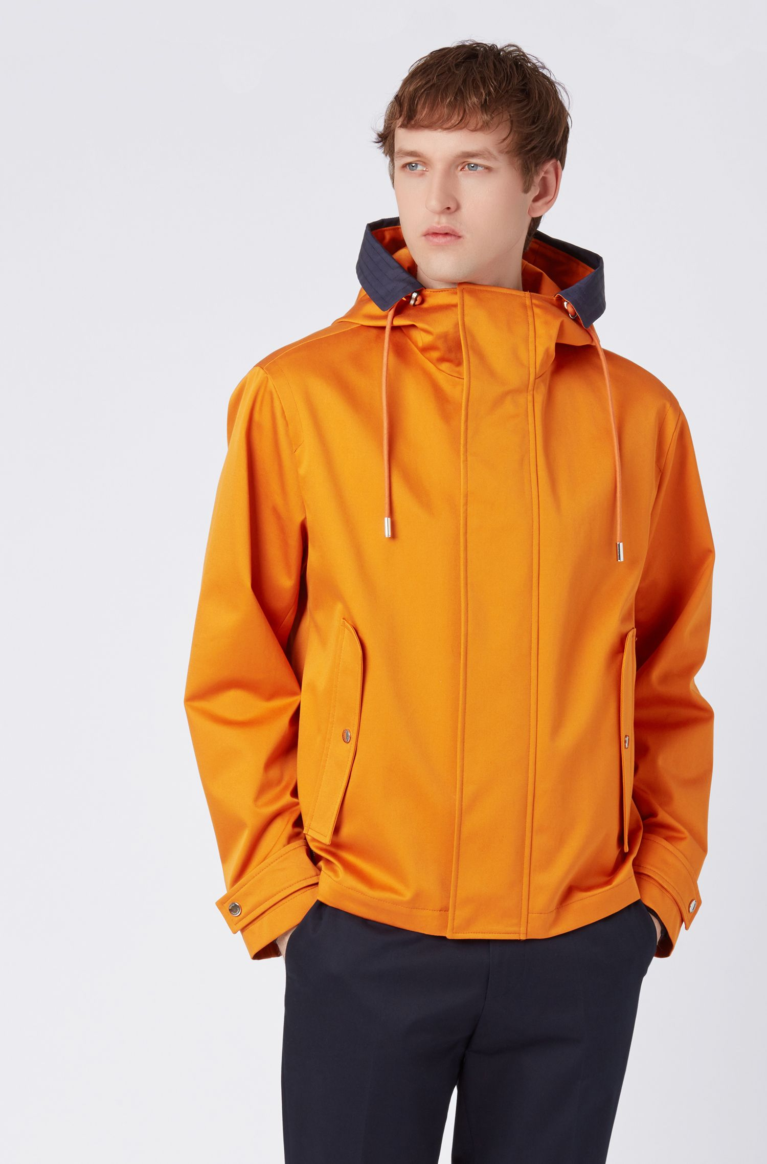 Hooded jacket in water-repellent gabardine with contrast inserts, Orange